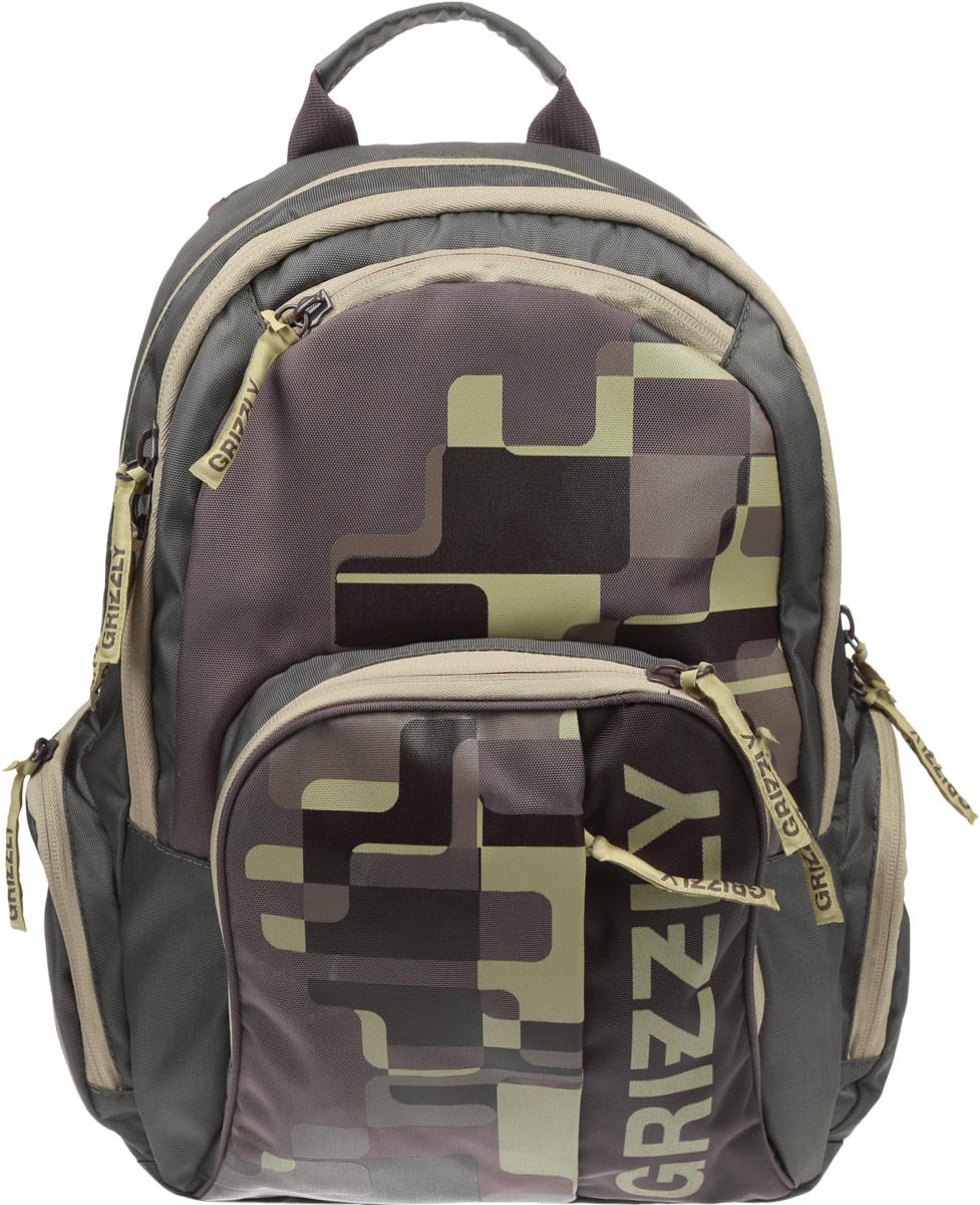 Рюкзак городской мужской Grizzly, цвет: зелено-серый, коричневый, 24 л. RU-719-1/2RU-719-1/2Рюкзак городской Grizzl выполнен из высококачественного полиэстера и оформлен оригинальным фирменным принтом. Рюкзак имеет петлю для подвешивания и две удобные лямки, длина которых регулируется с помощью пряжек. На лицевой стороне расположено два объемных кармана на молнии, один из которых содержит накладные карманы для телефона и канцелярских товаров. Также на лицевой стороне находятся небольшие карманы на молнии для мелочей. Рюкзак оснащен двумя боковыми карманами на молнии. Изделие застегивается на застежку-молнию. Внутри расположено главное вместительное отделение, которое содержит вшитый карман на молнии.