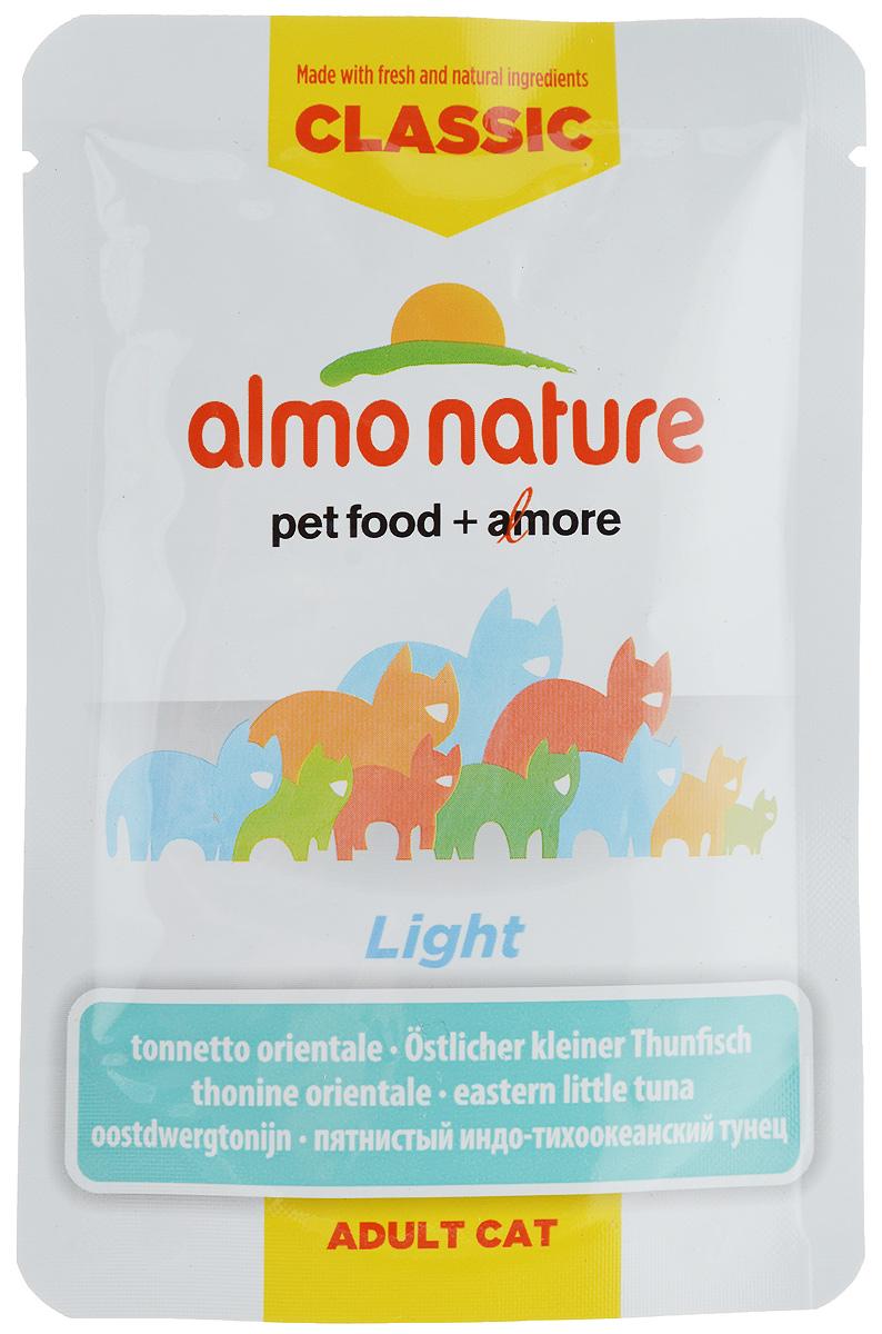 Консервы Almo Nature Light для кошек, склонных к избыточному весу, с пятнистым индо-тихоокеанским тунцом, 55 г23415Консервы Almo Nature Light, приготовленные из свежих и натуральных продуктов, являются идеальным кормом для кошек, склонных к избыточному весу. Угощение бережно приготовлено из самых свежих ингредиентов. Корм обогащен витаминами и минералами для здоровья, а также для хорошего самочувствия. Ваш питомец будет в полном восторге! Пищевая ценность: белок 12%, клетчатка 0,1%, жиры 0,2%, зола 2%, влажность 85%. Энергетическая ценность: 437 ккал/кг. Товар сертифицирован.