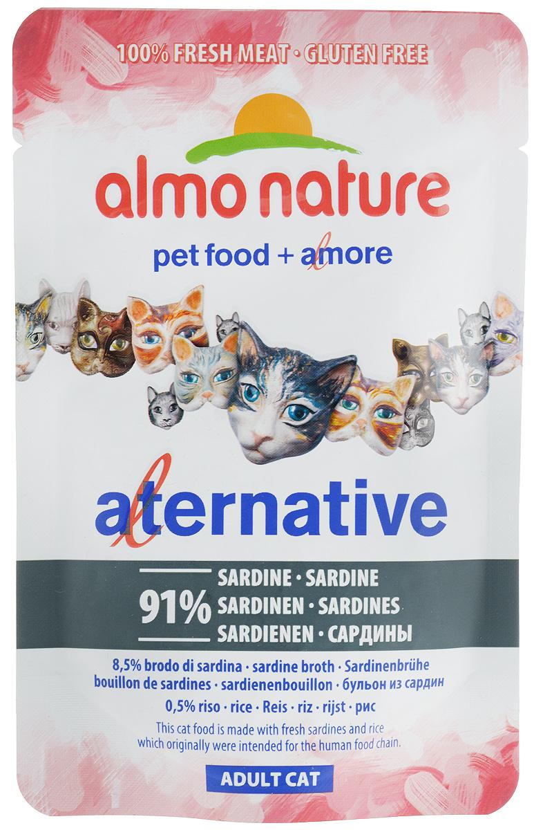Консервы Almo Nature Alternative для кошек, с сардинами, 55 г20406Консервы Almo Nature Alternative - корм для кошек наиболее приближенный к природе. Уникальность его заключается в том, что мясо сардин не подвергается предварительной обработке, а упаковывается в свежем (сыром) виде и готовится внутри пауча, что позволяет сохранить все питательные вещества, неповторимый вкус и аромат мяса. Товар сертифицирован.