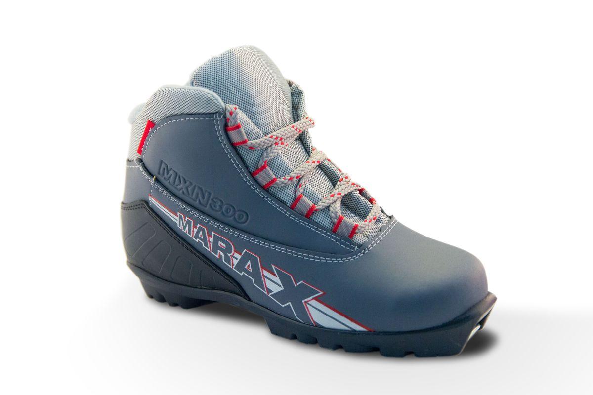 Ботинки лыжные Marax цвет: серый, серый металлик. MXN-300. Размер 42MXN-300Лыжные ботинки для спортивного катания под крепления NNN Rottefella. Верх - высококачественные синтетические материалы, протестированные при температуре минус 25'C. Внутри – утеплитель из искусственного меха. Язычок ботинка с защитой от попадания снега. Термопластичный анатомический задник. Подошва - ТЭП Цвета: серебро, серый Срана-производитель: Россия