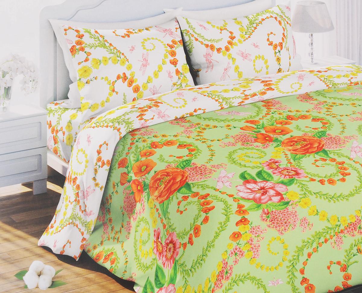 Комплект белья Любимый дом Цветочный вальс, 1,5-спальный, наволочки 70x70317212Комплект постельного белья Любимый дом Цветочный вальс состоит из пододеяльника, простыни и двух наволочек. Постельное белье оформлено оригинальным рисунком и имеет изысканный внешний вид. Белье изготовлено из новой ткани Биокомфорт, отвечающей всем необходимым нормативным стандартам. Биокомфорт - это ткань полотняного переплетения, из экологически чистого и натурального 100% хлопка. Неоспоримым плюсом белья из такой ткани является мягкость и легкость, она прекрасно пропускает воздух, приятна на ощупь, не образует катышков на поверхности и за ней легко ухаживать. При соблюдении рекомендаций по уходу, это белье выдерживает много стирок, не линяет и не теряет свою первоначальную прочность. Уникальная ткань обеспечивает легкую глажку. Приобретая комплект постельного белья Любимый дом, вы можете быть уверенны в том, что покупка доставит вам и вашим близким удовольствие и подарит максимальный комфорт.
