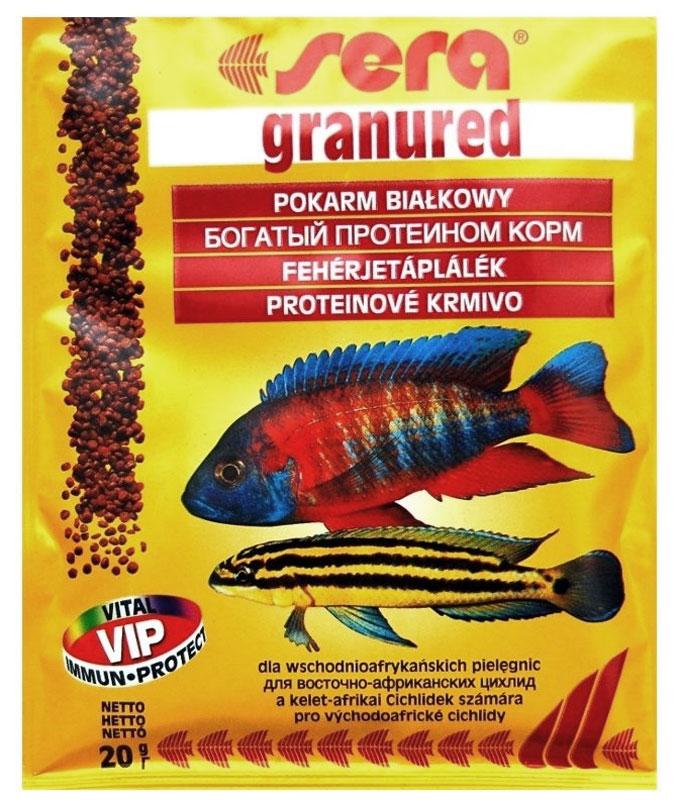 Sera Granured Корм для плотоядных цихлид, гранулы 20г15977Гранулированный корм для цихлид, усиливающий интенсивность окраса. Этот гранулированный корм имеет высокое процентное содержание высококачественных белков из водных организмов и поэтому предназначен для преимущественно хищных цихлид. При комбинировании с кормом sera гранугрин, грануред является интересным разнообразием также и для всеядных видов рыб. Вновь посаженные рыбы переходят на этот корм без проблем. Корм сохраняет свою форму и таким образом остается привлекательным для рыб и после погружения.