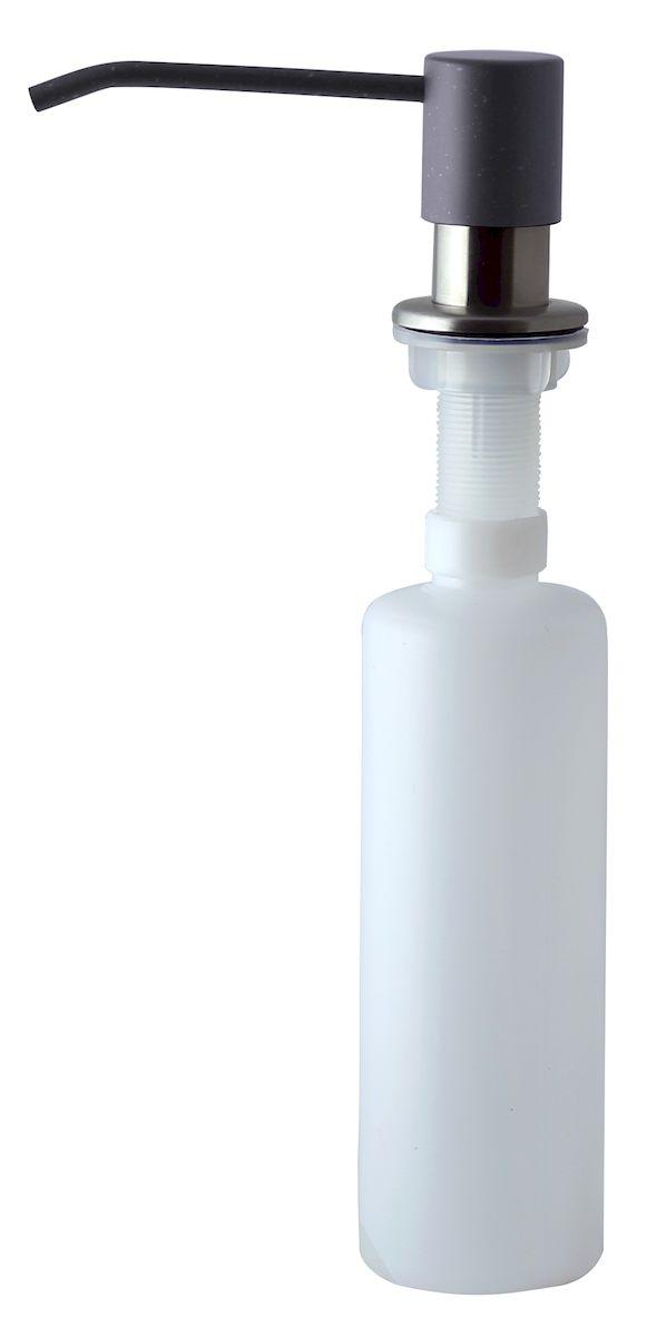 Диспенсер для моющего средства Zigmund & Shtain, встраиваемый, цвет: темная скала, 300 млa002zs_темная скалаДиспенсер для моющего средства позволяет с помощью лёгкого нажатия получать необходимое количество жидкости для мытья посуды. Дозатор освобождает пространство столешницы вокруг мойки от бутылочек с моющим средством и делает кухню удобной и красивой. Встраиваемый диспенсер устанавливается в столешницу или кухонную мойку. Корпус емкости под моющее средство и трубка подачи моющего средства выполнены из пластика, что исключает возможность коррозии и разъедания любым моющим средством, применяемым в быту. Диспенсер легко заполняется моющим средством сверху. Объем: 300 мл. Угол поворота: 360°. Диаметр врезного отверстия: 35 мм. Данный диспенсер подходит к кухонной мойке Zigmund & Shtain цвета темная скала.