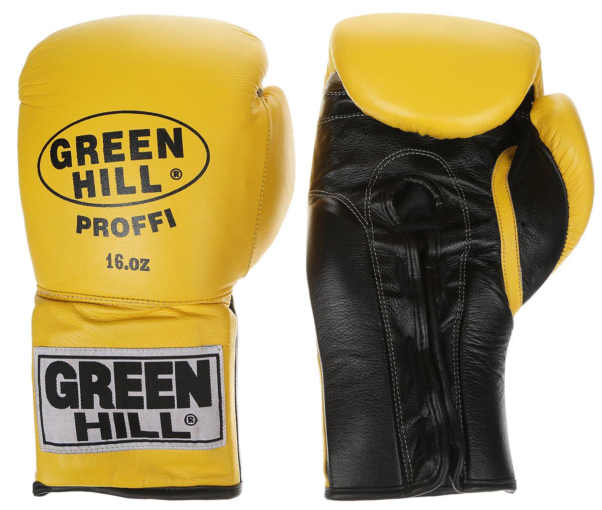 Перчатки боксерские Green Hill Proffi, цвет: желтый, черный. Вес 16 унций. BGP-2014BGP-2014Боксерские перчатки Green Hill Proffi предназначены для использования профессионалами. Верх выполнен из натуральной кожи, наполнитель - из вспененного полимера. Отверстие в области ладони позволяет создать максимально комфортный терморежим во время занятий. Манжет на шнуровке способствует быстрому и удобному надеванию перчаток, плотно фиксирует перчатки на руке.