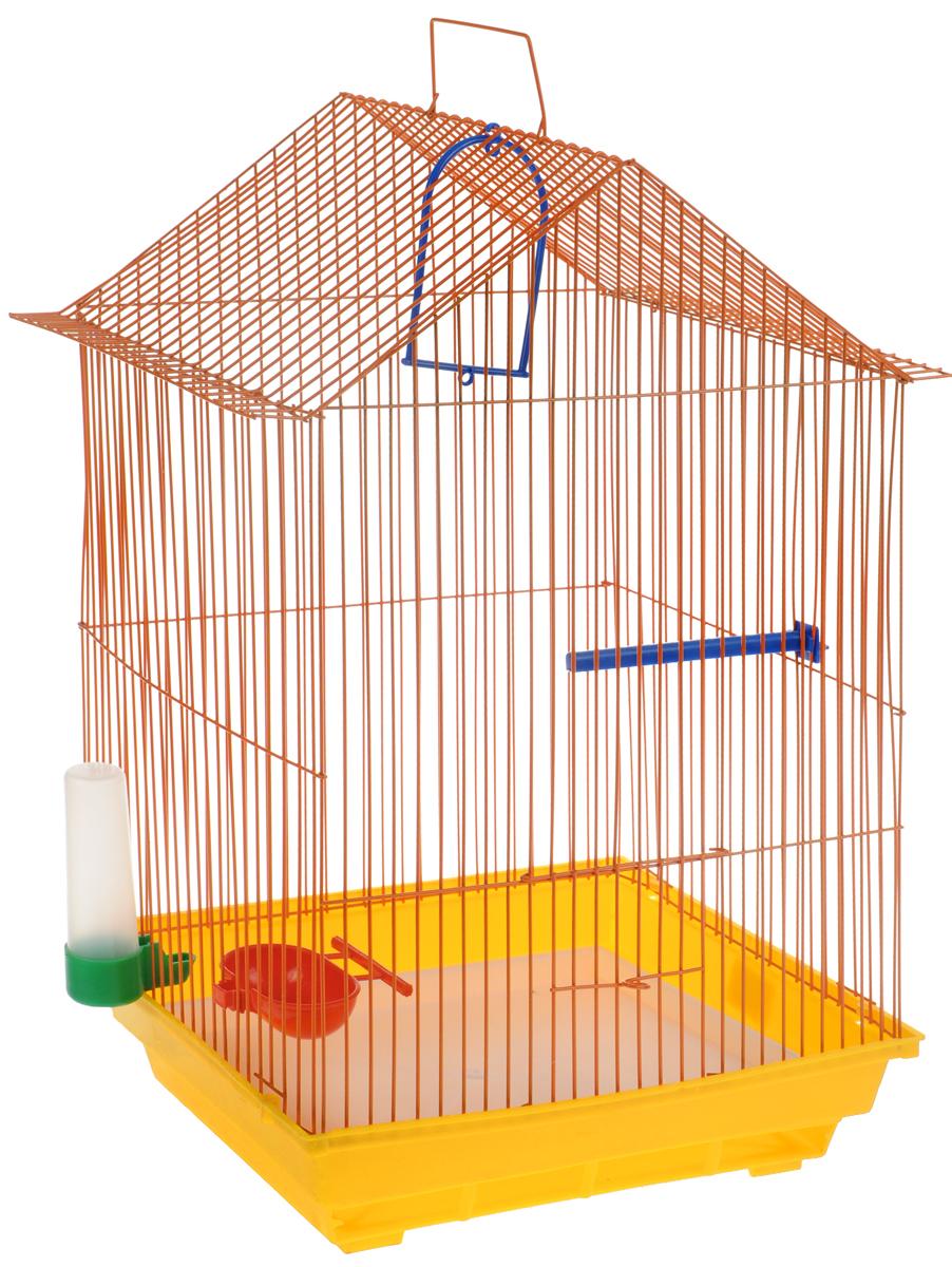 Клетка для птиц ЗооМарк, цвет: желтый поддон, оранжевая решетка, 34 x 28 х 54 см430ЖОКлетка ЗооМарк, выполненная из полипропилена и металла с эмалированным покрытием, предназначена для мелких птиц. Изделие состоит из большого поддона и решетки. Клетка снабжена металлической дверцей. В основании клетки находится малый поддон. Клетка удобна в использовании и легко чистится. Она оснащена жердочкой, кольцом для птицы, поилкой, кормушкой и подвижной ручкой для удобной переноски.
