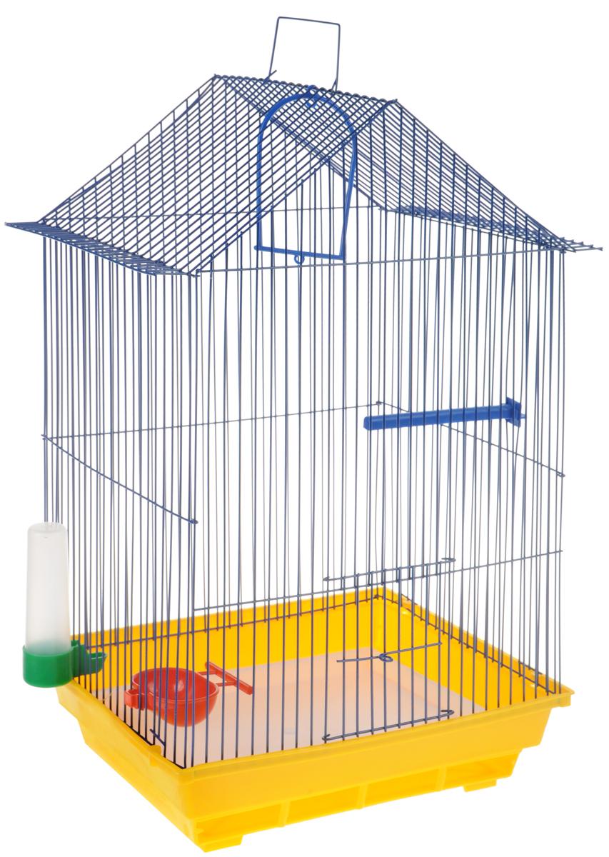 Клетка для птиц ЗооМарк, цвет: желтый поддон, синяя решетка, 34 x 28 х 54 см430ЖСКлетка ЗооМарк, выполненная из полипропилена и металла с эмалированным покрытием, предназначена для мелких птиц. Изделие состоит из большого поддона и решетки. Клетка снабжена металлической дверцей. В основании клетки находится малый поддон. Клетка удобна в использовании и легко чистится. Она оснащена жердочкой, кольцом для птицы, поилкой, кормушкой и подвижной ручкой для удобной переноски.