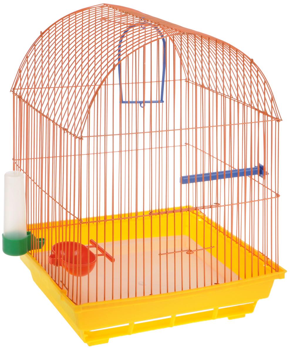 Клетка для птиц ЗооМарк, цвет: желтый поддон, оранжевая решетка, 35 х 28 х 45 см440ЖОКлетка ЗооМарк, выполненная из полипропилена и металла, предназначена для мелких птиц. Вы можете поселить в нее одну или две птицы. Изделие состоит из большого поддона и решетки. Клетка снабжена металлической дверцей, которая открывается и закрывается движением вверх-вниз. В основании клетки находится малый поддон. Клетка удобна в использовании и легко чистится. Она оснащена жердочкой, кольцом для птицы, кормушкой, поилкой и подвижной ручкой для удобной переноски.