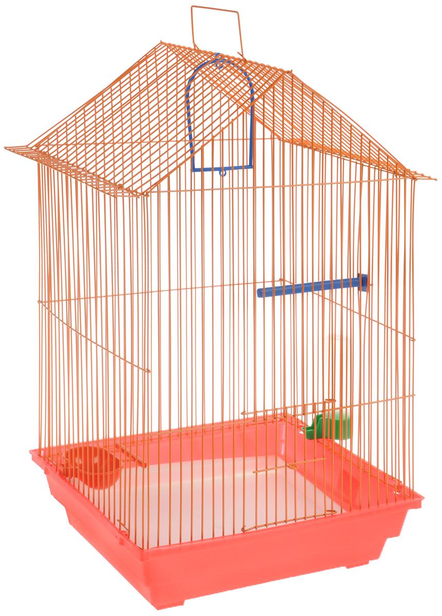 Клетка для птиц ЗооМарк, цвет: красный поддон, оранжевая решетка, 34 x 28 х 54 см430КОКлетка ЗооМарк, выполненная из полипропилена и металла с эмалированным покрытием, предназначена для мелких птиц. Изделие состоит из большого поддона и решетки. Клетка снабжена металлической дверцей. В основании клетки находится малый поддон. Клетка удобна в использовании и легко чистится. Она оснащена жердочкой, кольцом для птицы, поилкой, кормушкой и подвижной ручкой для удобной переноски.
