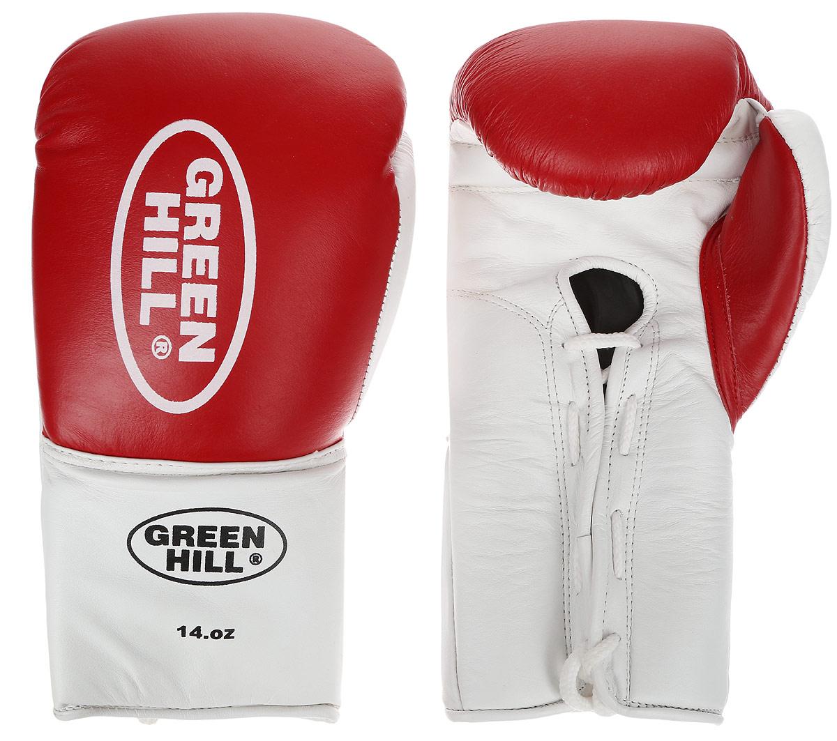 Перчатки боксерские Green Hill Proffi, цвет: красный, белый. Вес 14 унций. BGP-2014BGP-2014Боксерские перчатки Green Hill Proffi предназначены для использования профессионалами. Верх выполнен из натуральной кожи, наполнитель - из вспененного полимера. Отверстие в области ладони позволяет создать максимально комфортный терморежим во время занятий. Манжет на шнуровке способствует быстрому и удобному надеванию перчаток, плотно фиксирует перчатки на руке.