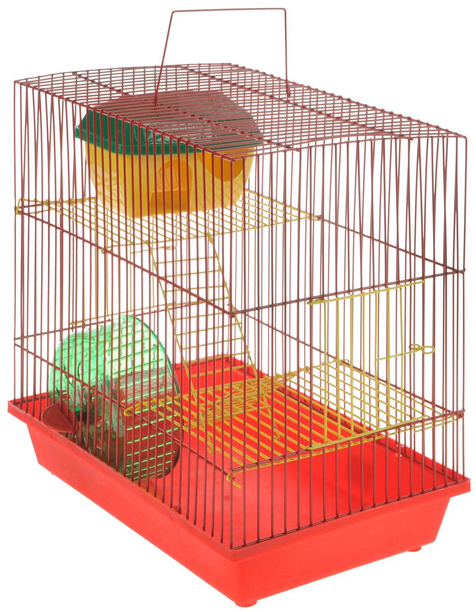 Клетка для грызунов ЗооМарк, 3-этажная, цвет: красный поддон, красная решетка, желтые этажи, 36 х 23 х 34,5 см. 135ж135жКККлетка ЗооМарк, выполненная из полипропилена и металла, подходит для мелких грызунов. Изделие трехэтажное, оборудовано колесом для подвижных игр и пластиковым домиком. Клетка имеет яркий поддон, удобна в использовании и легко чистится. Сверху имеется ручка для переноски. Такая клетка станет уединенным личным пространством и уютным домиком для маленького грызуна.