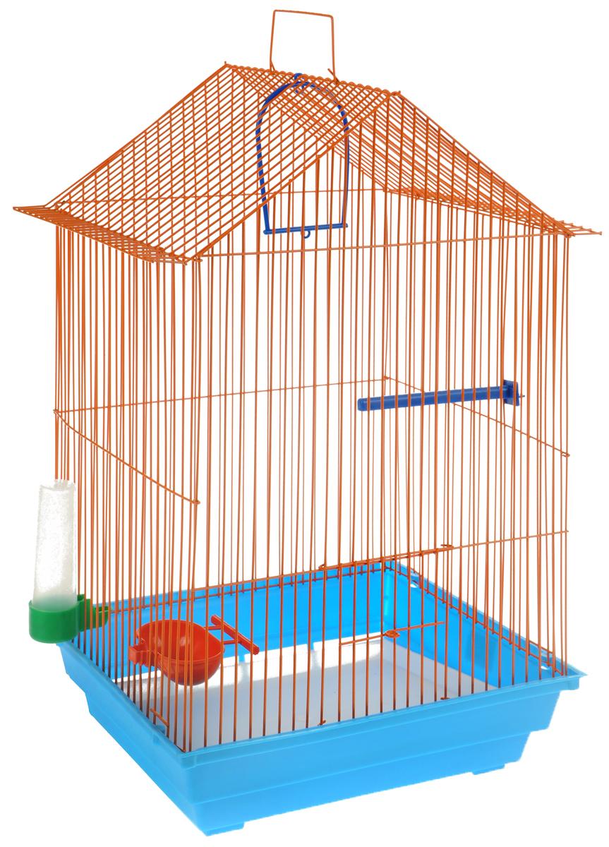 Клетка для птиц ЗооМарк, цвет: голубой поддон, оранжевая решетка, зеленая поилка, 34 x 28 х 54 см430СОКлетка ЗооМарк, выполненная из полипропилена и металла с эмалированным покрытием, предназначена для мелких птиц. Изделие состоит из большого поддона и решетки. Клетка снабжена металлической дверцей. В основании клетки находится малый поддон. Клетка удобна в использовании и легко чистится. Она оснащена жердочкой, кольцом для птицы, поилкой, кормушкой и подвижной ручкой для удобной переноски.