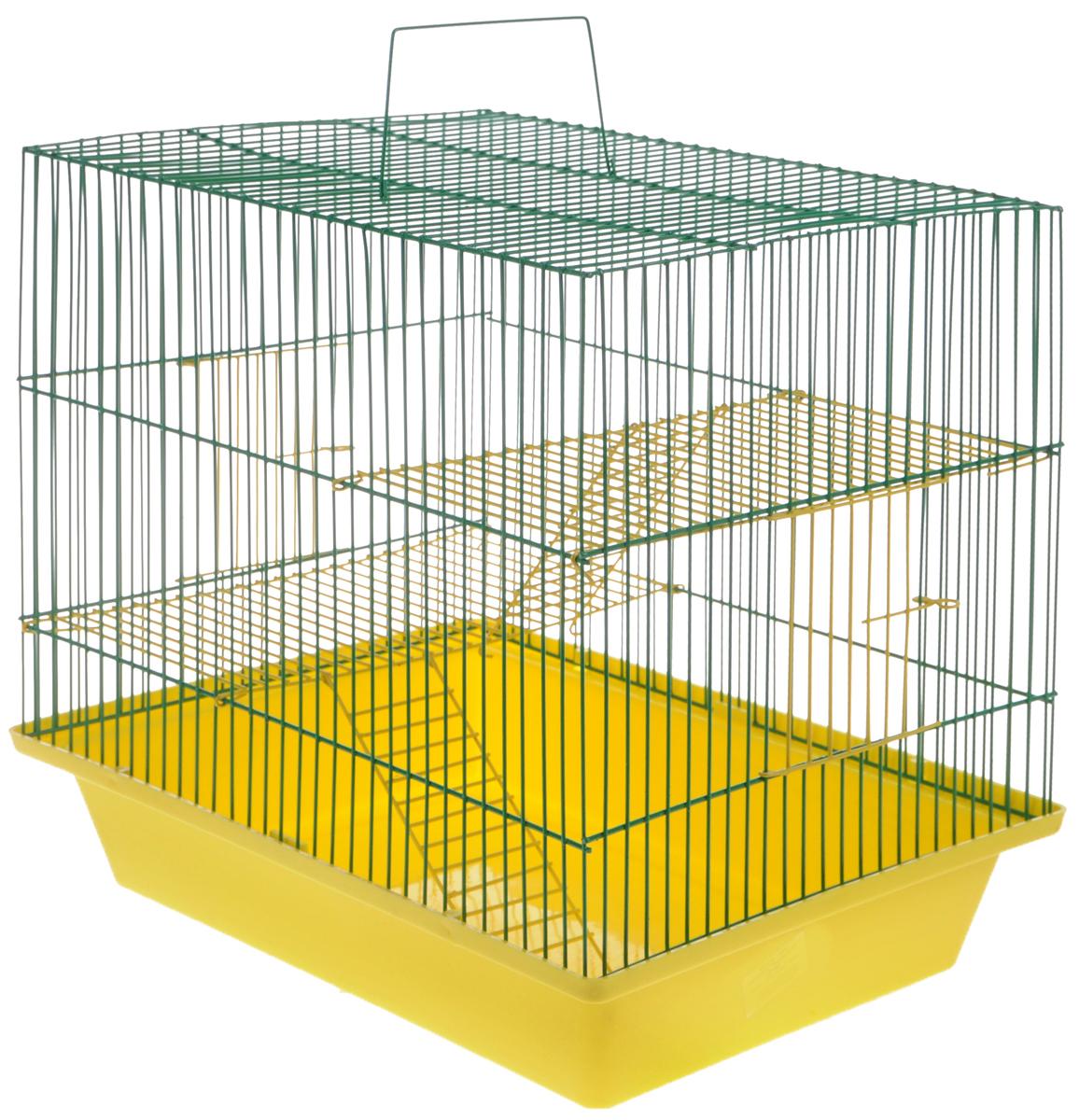 Клетка для грызунов ЗооМарк Гризли-3ж, цвет: желтый поддон, зеленая решетка. 230ж230жЖЗ