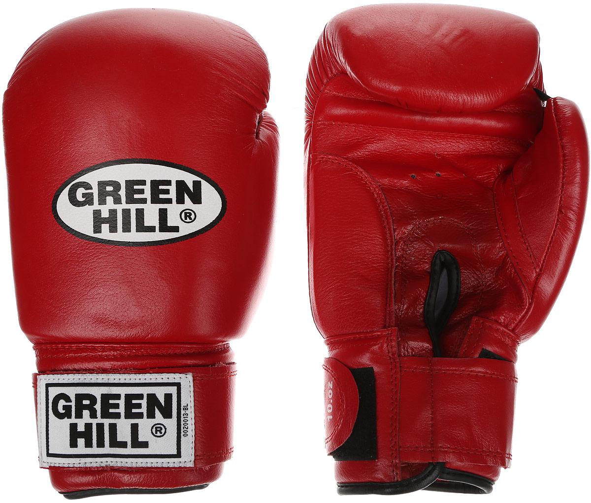 Перчатки боксерские Green Hill Super Star, цвет: красный, белый. Вес 10 унций. BGS-1213сBGS-1213сБоксерские перчатки Green Hill Super Star предназначены для использования профессионалами. Подойдут для спаррингов и соревнований. Верх выполнен из натуральной кожи, наполнитель - из вспененного полимера. Отверстие в области ладони позволяет создать максимально комфортный терморежим во время занятий. Манжет на липучке способствует быстрому и удобному надеванию перчаток, плотно фиксирует перчатки на руке.