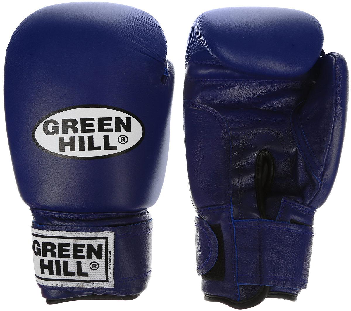 Перчатки боксерские Green Hill Super Star, цвет: синий, белый. Вес 12 унций. BGS-1213сBGS-1213сБоксерские перчатки Green Hill Super Star предназначены для использования профессионалами. Подойдут для спаррингов и соревнований. Верх выполнен из натуральной кожи, наполнитель - из вспененного полимера. Отверстие в области ладони позволяет создать максимально комфортный терморежим во время занятий. Манжет на липучке способствует быстрому и удобному надеванию перчаток, плотно фиксирует перчатки на руке.