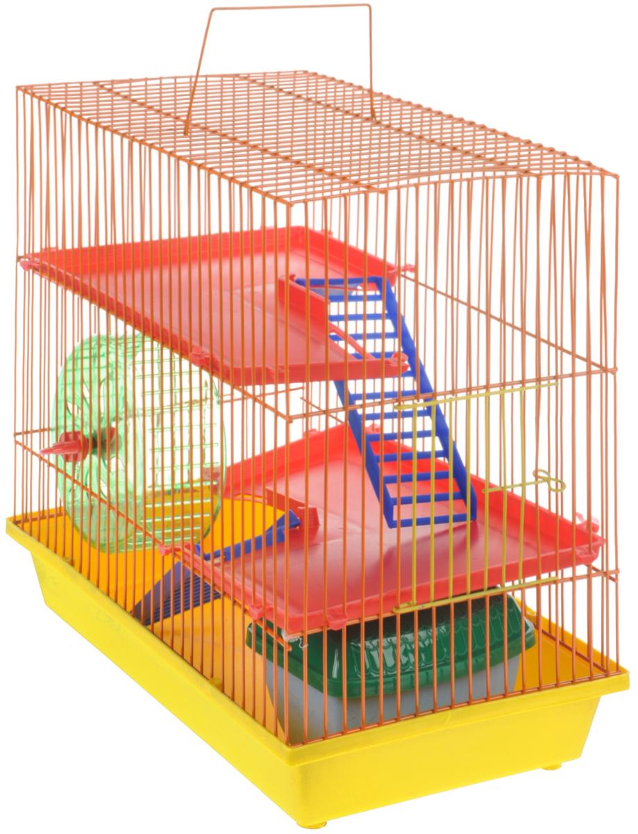 Клетка для грызунов ЗооМарк, 3-этажная, цвет: желтый поддон, оранжевая решетка, красные этажи, 36 х 22,5 х 34 см. 135135ЖОКлетка ЗооМарк, выполненная из полипропилена и металла, подходит для мелких грызунов. Изделие трехэтажное, оборудовано колесом для подвижных игр и пластиковым домиком. Клетка имеет яркий поддон, удобна в использовании и легко чистится. Сверху имеется ручка для переноски. Такая клетка станет уединенным личным пространством и уютным домиком для маленького грызуна.