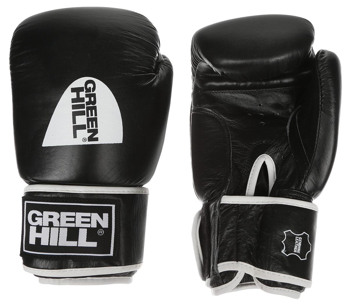 Перчатки боксерские Green Hill Gym, цвет: черный, белый. Вес 12 унцийG-2018312Боксерские перчатки Green Hill Gym подходят для всех видов единоборств где применяют перчатки. Подойдет как для бокса, так и для кикбоксинга. Новички и профессионалы высоко ценят эту модель за универсальность. Верхняя часть перчатки выполнена из натуральной кожи, наполнитель - пенополиуретан. Перфорированная поверхность в области ладони позволяет создать максимально комфортный терморежим во время занятий. Закрепляется на руке при помощи липучки.