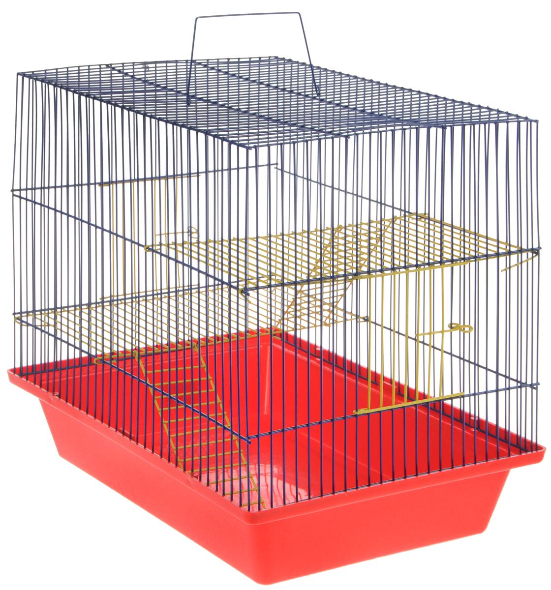 Клетка для грызунов ЗооМарк Гризли-3ж, цвет: красный поддон, синяя решетка. 230ж230жКС