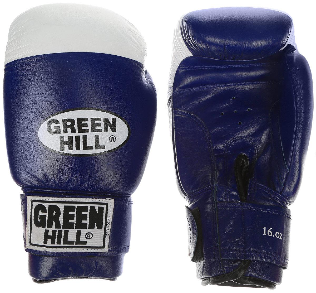 Перчатки боксерские Green Hill Super Star, цвет: синий, белый. Вес 16 унций. BGS-1213bBGS-1213bБоксерские перчатки Green Hill Super Star предназначены для использования профессионалами. Подойдут для спаррингов и соревнований. Верх выполнен из натуральной кожи, наполнитель - из вспененного полимера. Отверстие в области ладони позволяет создать максимально комфортный терморежим во время занятий. Манжет на липучке способствует быстрому и удобному надеванию перчаток, плотно фиксирует перчатки на руке.