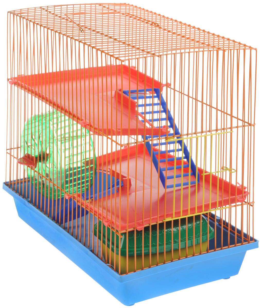 Клетка для грызунов ЗооМарк, 3-этажная, цвет: голубой поддон, оранжевая решетка, красные этажи, 36 х 22,5 х 34 см. 135135СОКлетка ЗооМарк, выполненная из полипропилена и металла, подходит для мелких грызунов. Изделие трехэтажное, оборудовано колесом для подвижных игр и пластиковым домиком. Клетка имеет яркий поддон, удобна в использовании и легко чистится. Сверху имеется ручка для переноски. Такая клетка станет уединенным личным пространством и уютным домиком для маленького грызуна.