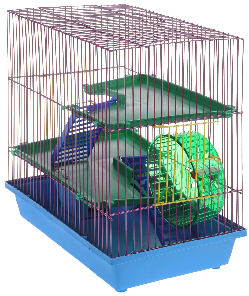 Клетка для грызунов ЗооМарк, 3-этажная, цвет: голубой поддон, фиолетовая решетка, зеленые этажи, 36 х 22,5 х 34 см. 135135СФКлетка ЗооМарк, выполненная из полипропилена и металла, подходит для мелких грызунов. Изделие трехэтажное, оборудовано колесом для подвижных игр и пластиковым домиком. Клетка имеет яркий поддон, удобна в использовании и легко чистится. Сверху имеется ручка для переноски. Такая клетка станет уединенным личным пространством и уютным домиком для маленького грызуна.