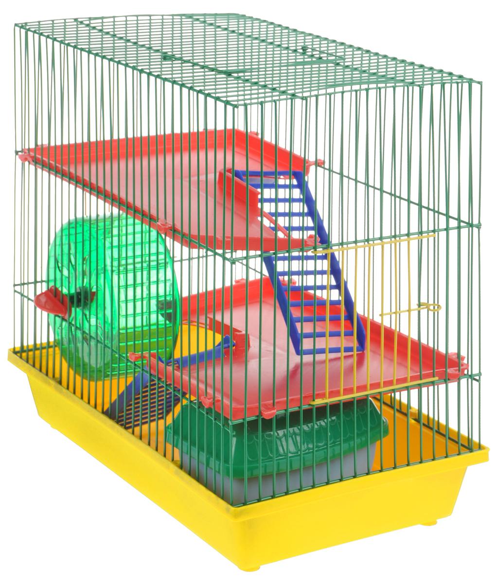 Клетка для грызунов ЗооМарк, 3-этажная, цвет: желтый поддон, зеленая решетка, красные этажи, 36 х 22,5 х 34 см. 135135ЖЗКлетка ЗооМарк, выполненная из полипропилена и металла, подходит для мелких грызунов. Изделие трехэтажное, оборудовано колесом для подвижных игр и пластиковым домиком. Клетка имеет яркий поддон, удобна в использовании и легко чистится. Сверху имеется ручка для переноски. Такая клетка станет уединенным личным пространством и уютным домиком для маленького грызуна.