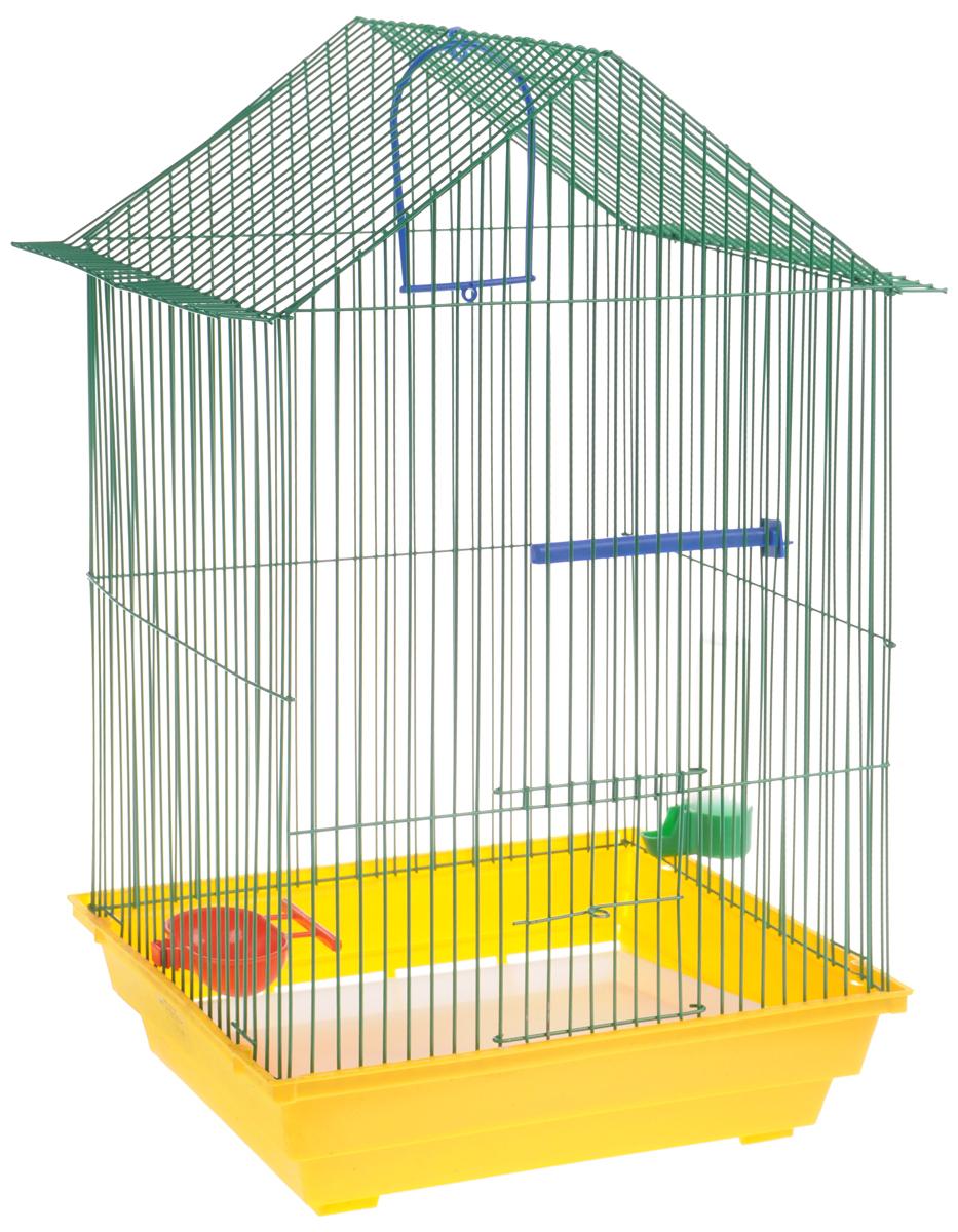 Клетка для птиц ЗооМарк, цвет: желтый поддон, зеленая решетка, оранжевая кормушка, 34 x 28 х 54 см430ЖЗКлетка ЗооМарк, выполненная из полипропилена и металла с эмалированным покрытием, предназначена для мелких птиц. Изделие состоит из большого поддона, малого поддона и решетки. Клетка снабжена металлической дверцей. Клетка удобна в использовании и легко чистится. Она оснащена кольцом для птицы, жердочкой, поилкой, кормушкой и подвижной ручкой для удобной переноски.