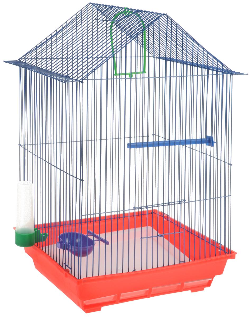Клетка для птиц ЗооМарк, цвет: красный поддон, синяя решетка, зеленая поилка, 34 x 28 х 54 см430КСКлетка ЗооМарк, выполненная из полипропилена и металла с эмалированным покрытием, предназначена для мелких птиц. Изделие состоит из большого поддона и решетки. Клетка снабжена металлической дверцей. В основании клетки находится малый поддон. Клетка удобна в использовании и легко чистится. Она оснащена жердочкой, кольцом для птицы, поилкой, кормушкой и подвижной ручкой для удобной переноски.