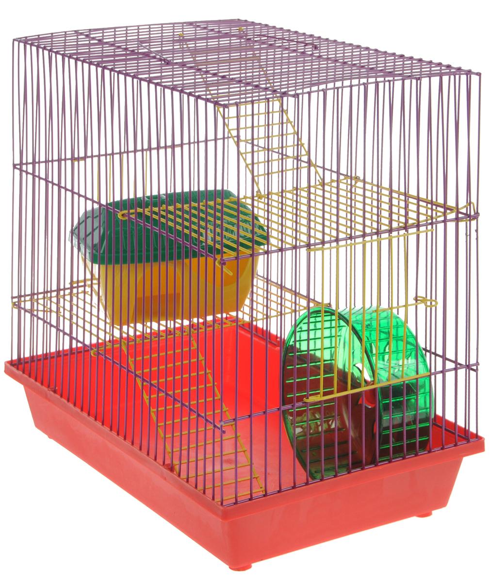 Клетка для грызунов ЗооМарк, 3-этажная, цвет: красный поддон, фиолетовая решетка, желтые этажи, 36 х 23 х 34,5 см. 135ж135жКФКлетка ЗооМарк, выполненная из полипропилена и металла, подходит для мелких грызунов. Изделие трехэтажное, оборудовано колесом для подвижных игр и пластиковым домиком. Клетка имеет яркий поддон, удобна в использовании и легко чистится. Сверху имеется ручка для переноски. Такая клетка станет уединенным личным пространством и уютным домиком для маленького грызуна.