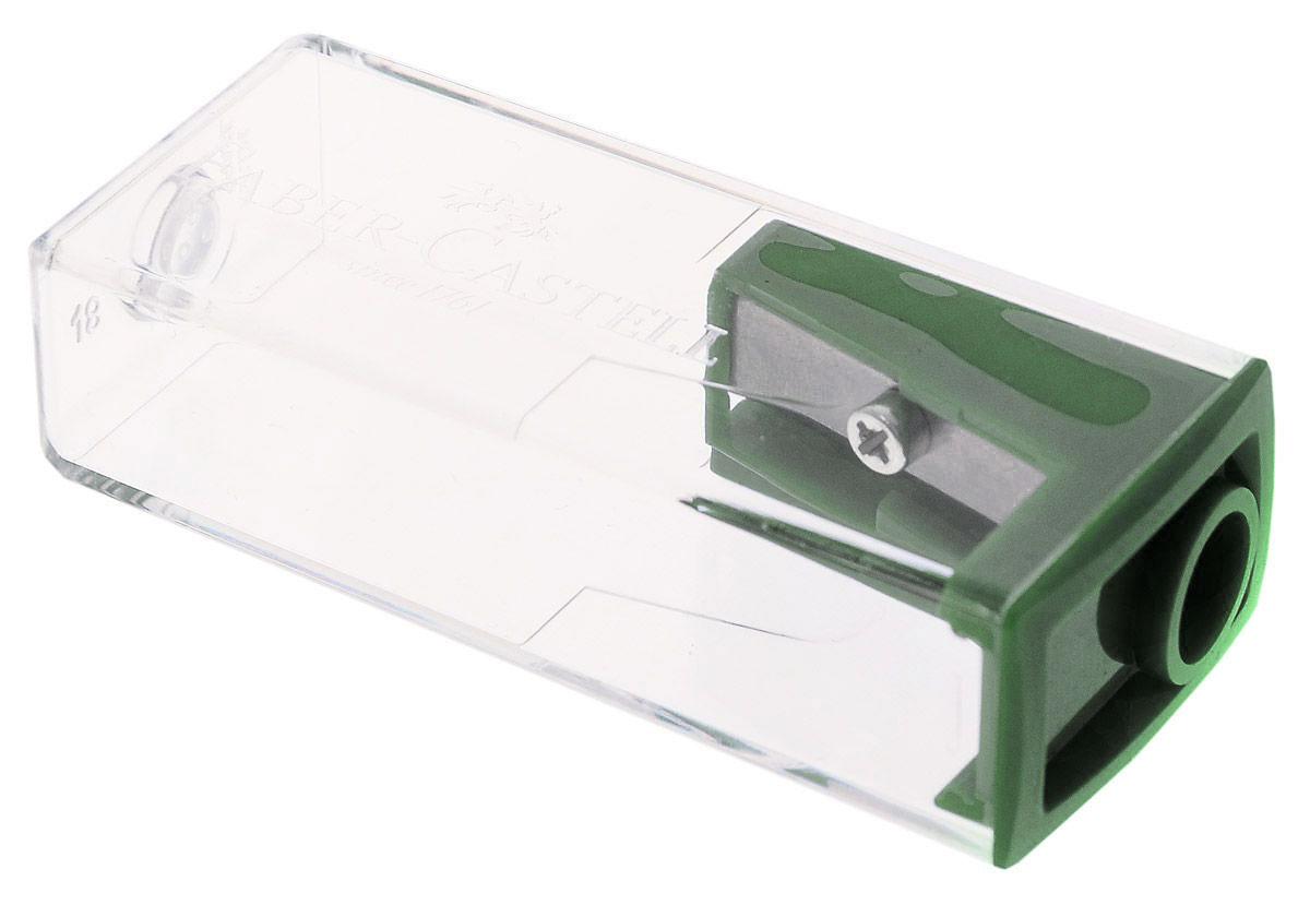 Faber- Castell Точилка с контейнером цвет темно-зеленый582425Точилка Faber-Castell предназначена для затачивания карандашей диаметром 8 мм. Прозрачный контейнер позволяет визуально определить уровень заполнения и вовремя произвести очистку. Острое лезвие обеспечивает высококачественную и точную заточку деревянных карандашей.