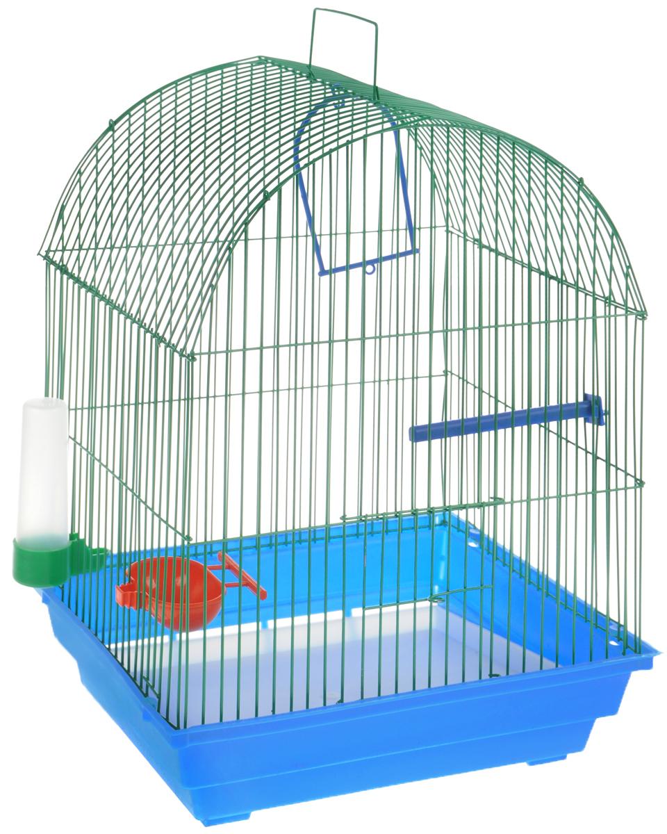 Клетка для птиц ЗооМарк, цвет: голубой поддон, зеленая решетка, красная кормушка, 35 х 28 х 45 см440СЗКлетка ЗооМарк, выполненная из полипропилена и металла, предназначена для мелких птиц. Вы можете поселить в нее одну или две птицы. Изделие состоит из большого поддона и решетки. Клетка снабжена металлической дверцей, которая открывается и закрывается движением вверх-вниз. В основании клетки находится малый поддон. Клетка удобна в использовании и легко чистится. Она оснащена жердочкой, кольцом для птицы, кормушкой, поилкой и подвижной ручкой для удобной переноски.