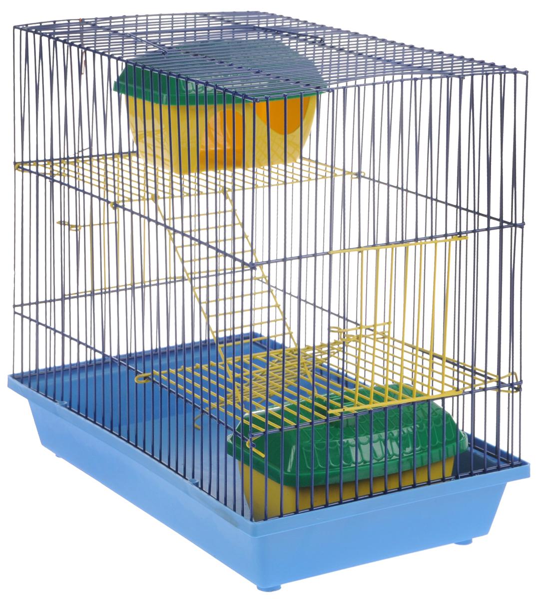 Клетка для грызунов ЗооМарк, 3-этажная, с двумя домиками, цвет: голубой поддон, синяя решетка, желтые этажи, 36 х 23 х 34,5 см135жССКлетка ЗооМарк, выполненная из полипропилена и металла, подходит для мелких грызунов. Изделие трехэтажное, оборудовано колесом для подвижных игр и пластиковым домиком. Клетка имеет яркий поддон, удобна в использовании и легко чистится. Сверху имеется ручка для переноски. Такая клетка станет уединенным личным пространством и уютным домиком для маленького грызуна.