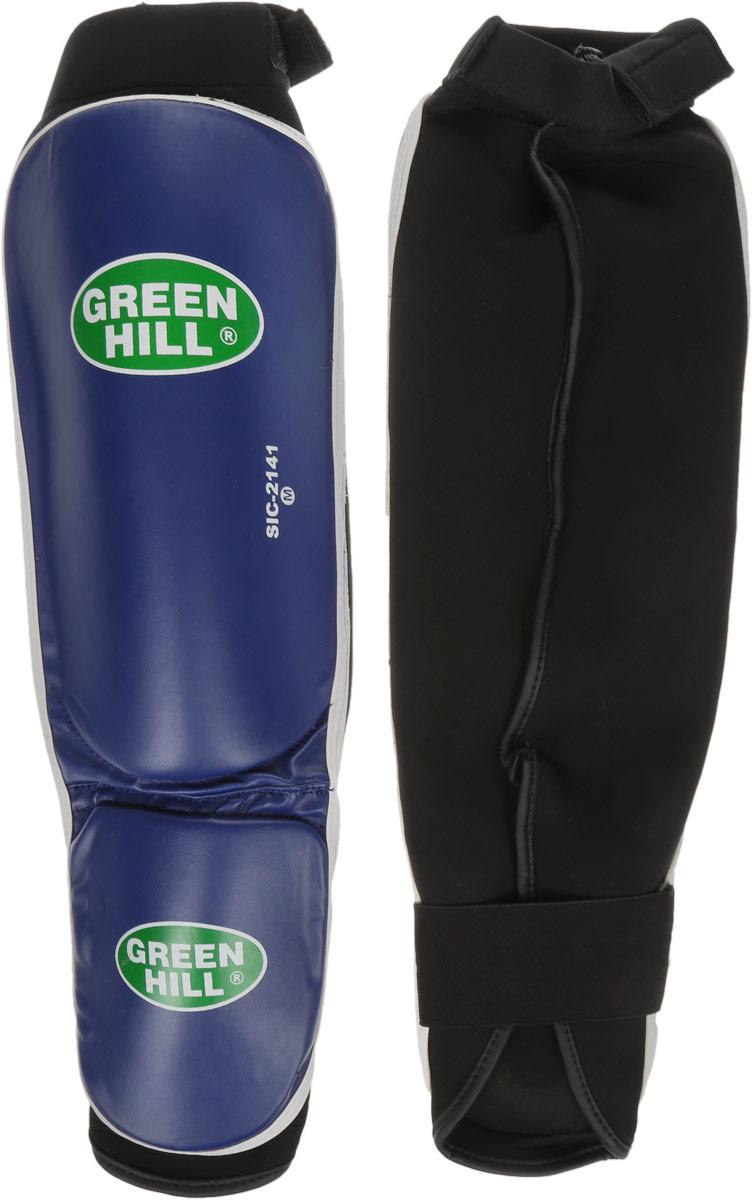 Защита голени и стопы Green Hill Cover, цвет: синий, черный. Размер M. SIС-2141SIС-2141Защита голени и стопы Green Hill Cover с наполнителем, выполненным из полипропилена, необходима при занятиях спортом для защиты пальцев и суставов от вывихов, ушибов и прочих повреждений. Накладки выполнены из высококачественной искусственной кожи. Они прочно фиксируются за счет эластичной ленты и липучек. Длина голени: 29 см. Ширина голени: 15,5 см. Длина стопы: 15 см. Ширина стопы: 11,5 см.