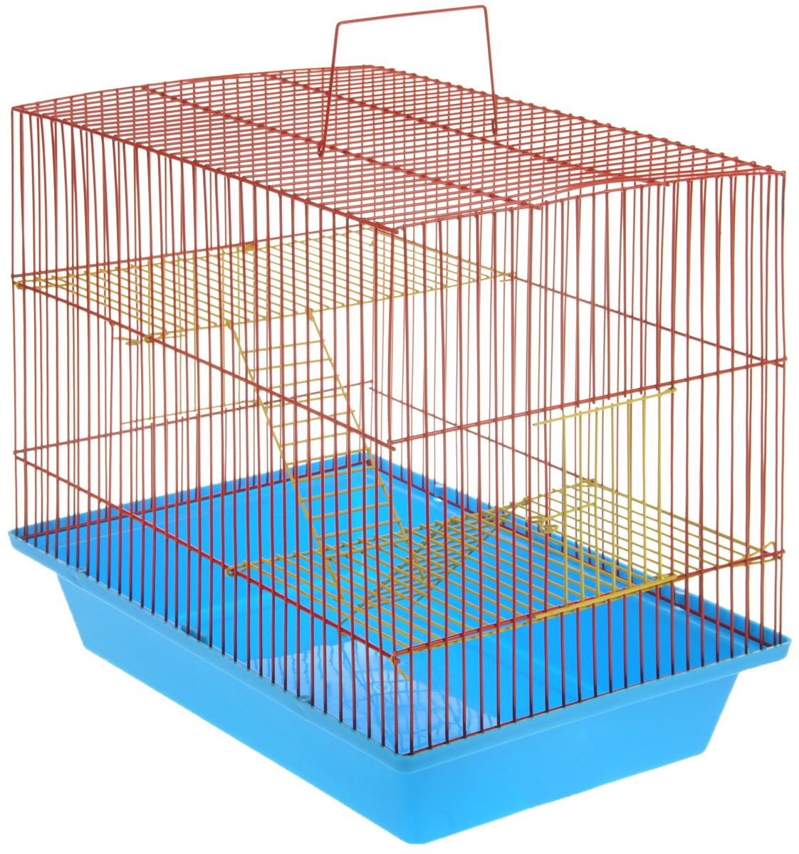 Клетка для грызунов ЗооМарк Гризли, 3-этажная, цвет: голубой поддон, красная решетка, желтые этажи, 41 х 30 х 36 см. 230ж230жСККлетка ЗооМарк Гризли, выполненная из полипропилена и металла, подходит для мелких грызунов. Изделие трехэтажное. Клетка имеет яркий поддон, удобна в использовании и легко чистится. Сверху имеется ручка для переноски. Такая клетка станет уединенным личным пространством и уютным домиком для маленького грызуна.