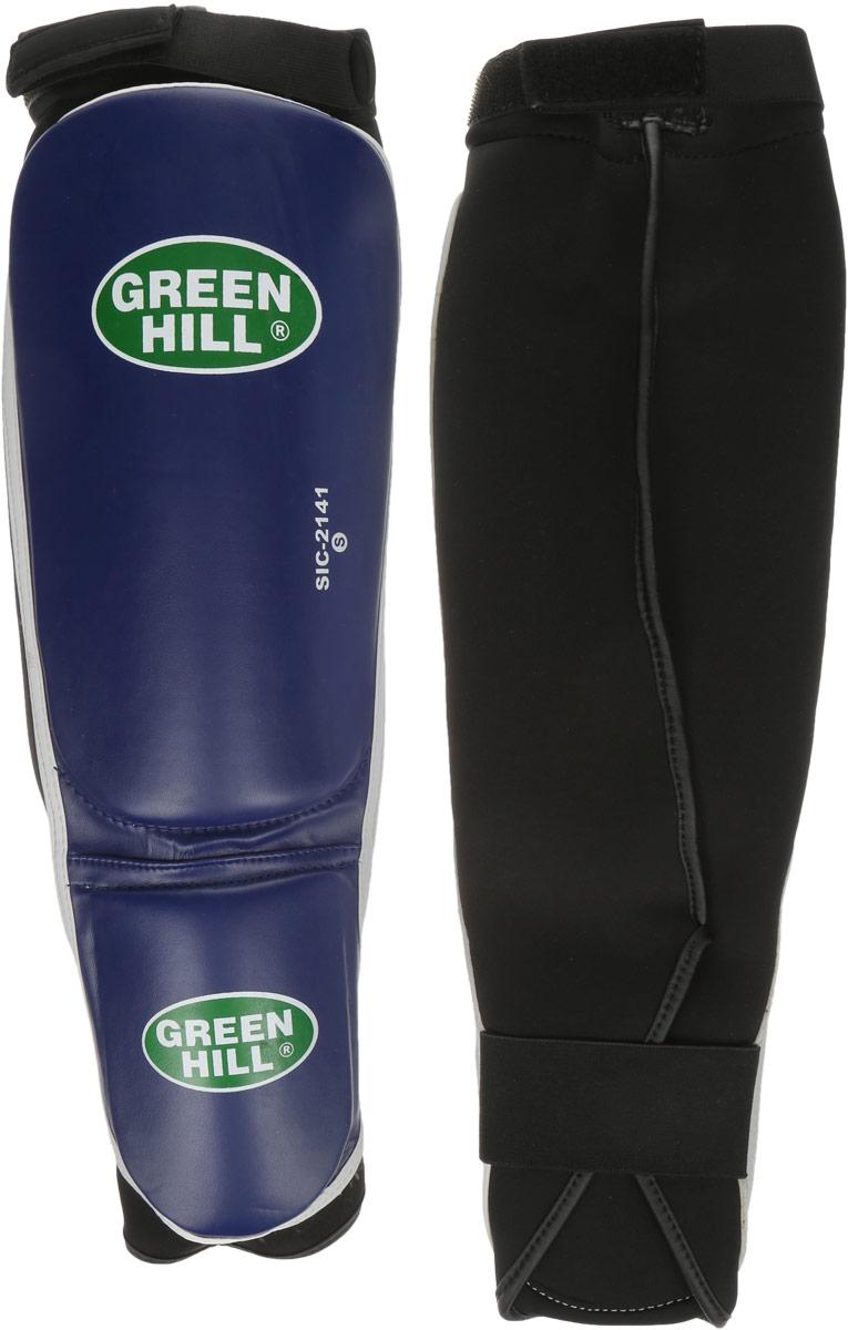 Защита голени и стопы Green Hill Cover, цвет: синий, черный. Размер S. SIС-2141SIС-2141Защита голени и стопы Green Hill Cover с наполнителем, выполненным из полипропилена, необходима при занятиях спортом для защиты пальцев и суставов от вывихов, ушибов и прочих повреждений. Накладки выполнены из высококачественной искусственной кожи. Они прочно фиксируются за счет эластичной ленты и липучек. Длина голени: 27 см. Ширина голени: 15 см. Длина стопы: 14 см. Ширина стопы: 11,5 см.