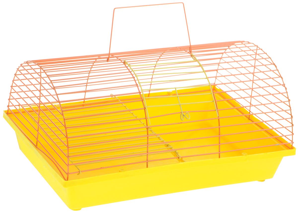Клетка для грызунов ЗооМарк, цвет: желтый поддон, оранжевая решетка, 36 х 23 х 17,5 см. 110ж(110ж)ЖОКлетка ЗооМарк, выполненная из полипропилена и металла, подходит для грызунов. Она имеет яркий поддон, удобна в использовании и легко чистится. Клетка оснащена вторым ярусом с лесенкой, выполненных из металла. Такая клетка станет уединенным пространством и уютным домиком для маленького грызуна.