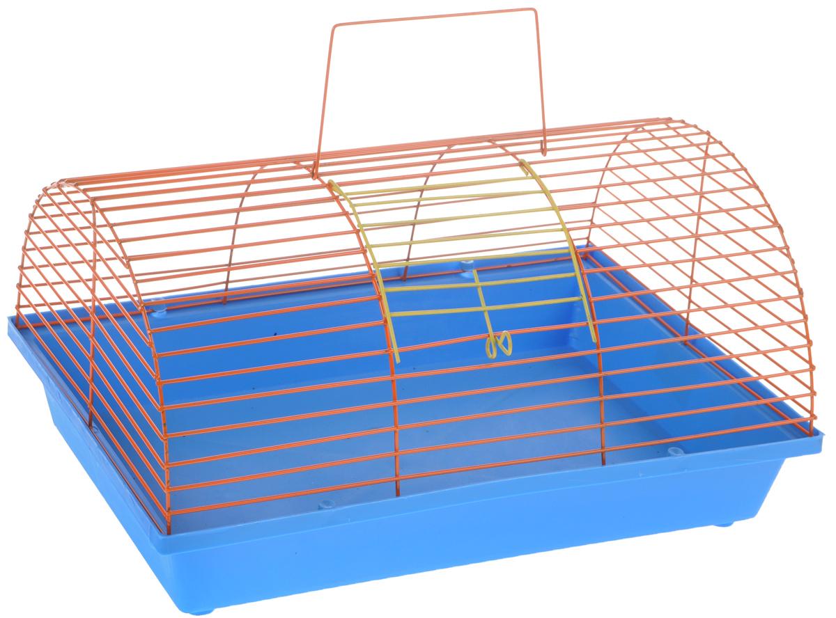 Клетка для грызунов ЗооМарк, цвет: голубой поддон, оранжевая решетка, 36 х 23 х 17,5 см(80)СОКлетка ЗооМарк, выполненная из полипропилена и металла, подходит для мелких грызунов. Она имеет яркий поддон, удобна в использовании и легко чистится. Сверху имеется ручка для переноски. Такая клетка станет уединенным личным пространством и уютным домиком для маленького грызуна.