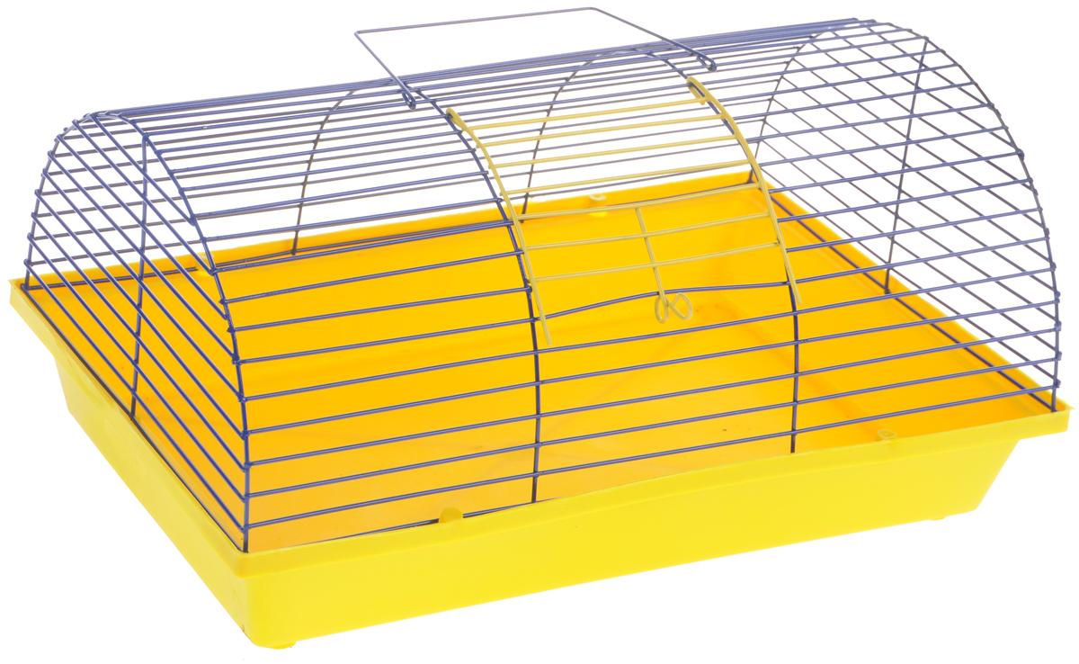 Клетка для грызунов ЗооМарк, полукруглая, без этажа, цвет: желтый поддон, синяя решетка. 080(80)ЖС