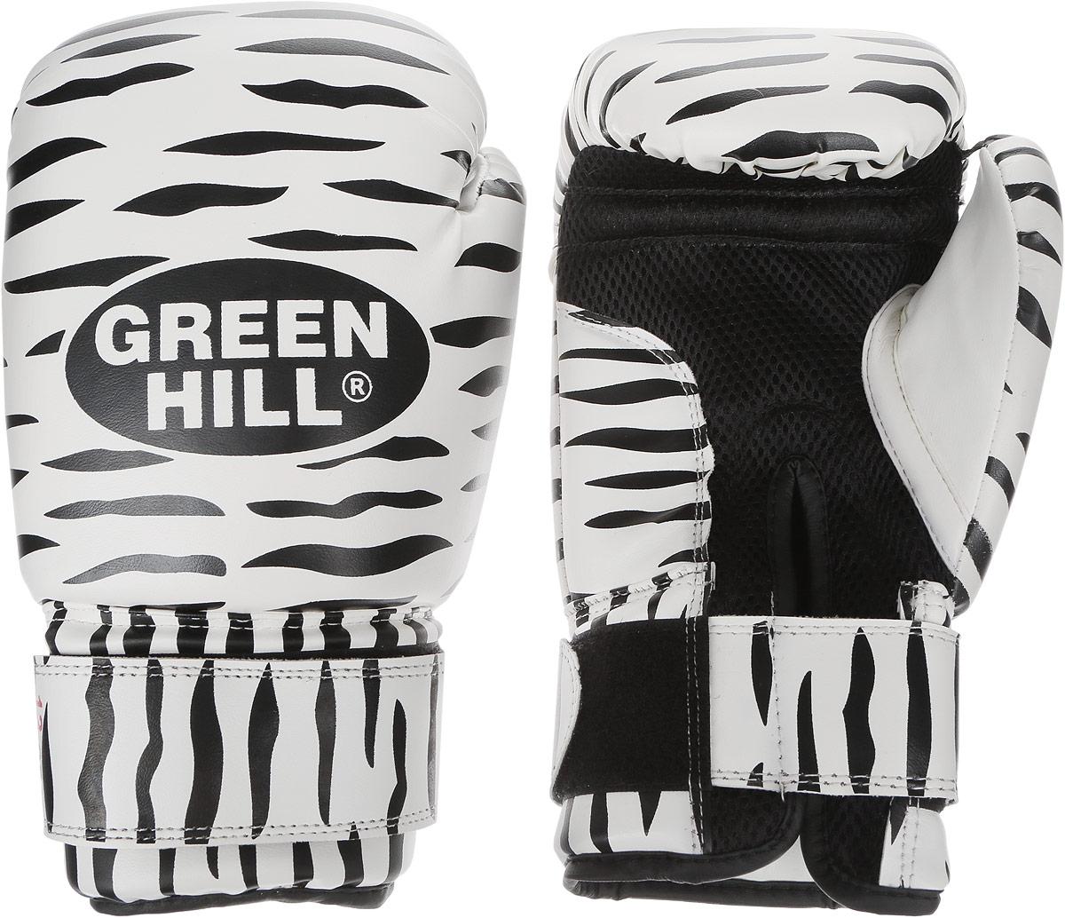 Перчатки боксерские Green Hill Zebra, цвет: черный, белый. Вес 12 унций. BGC-2041BGC-2041Боксерские перчатки Green Hill Zebra отлично подойдут для тренировок. Верх выполнен из искусственной кожи, наполнитель - из вспененного полимера. Сетка в области ладони позволяет создать максимально комфортный терморежим во время занятий. Длинный манжет на липучке способствует быстрому и удобному надеванию перчаток, плотно фиксирует их на руке.