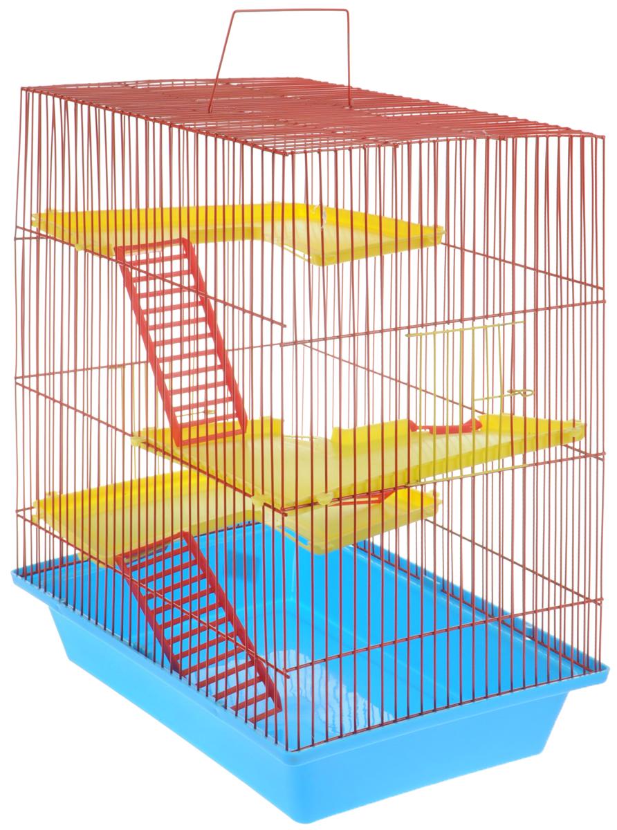 Клетка для грызунов ЗооМарк Гризли, 4-этажная, цвет: голубой поддон, красная решетка, желтые этажи, 41 х 30 х 50 см240СККлетка ЗооМарк Гризли, выполненная из полипропилена и металла, подходит для мелких грызунов. Изделие четырехэтажное. Клетка имеет яркий поддон, удобна в использовании и легко чистится. Сверху имеется ручка для переноски. Такая клетка станет уединенным личным пространством и уютным домиком для маленького грызуна.
