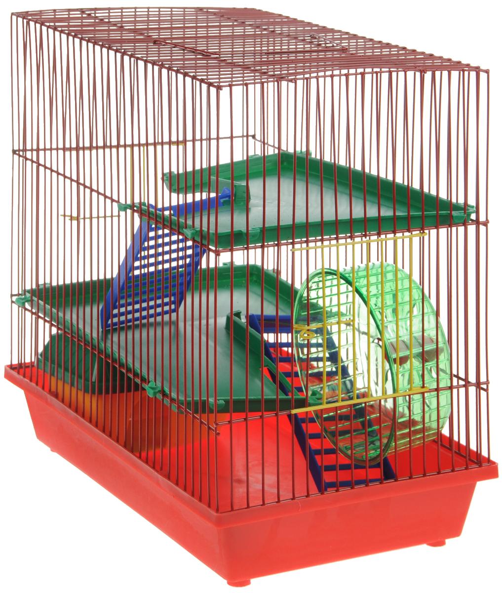 Клетка для грызунов ЗооМарк, 3-этажная, цвет: красный поддон, красная решетка, зеленые этажи, 36 х 22,5 х 34 см. 135135КККлетка ЗооМарк, выполненная из полипропилена и металла, подходит для мелких грызунов. Изделие трехэтажное, оборудовано колесом для подвижных игр и пластиковым домиком. Клетка имеет яркий поддон, удобна в использовании и легко чистится. Сверху имеется ручка для переноски, а сбоку удобная дверца. Такая клетка станет уединенным личным пространством и уютным домиком для маленького грызуна.