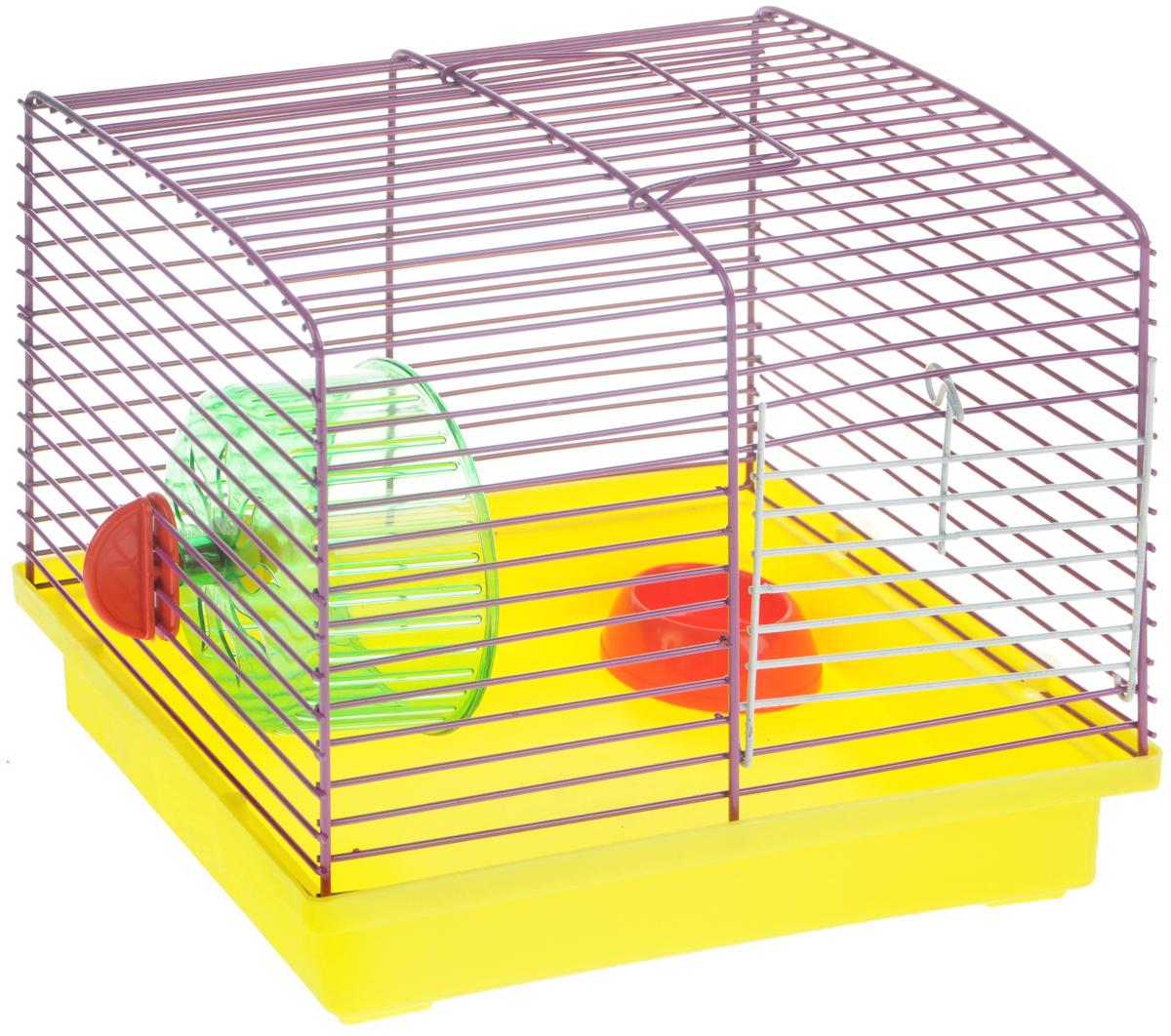 Клетка для джунгариков ЗооМарк, с колесом и миской, цвет: желтый поддон, фиолетовая решетка, 23 х 18 х 19 см511ЖФКлетка ЗооМарк, выполненная из пластика и металла, подходит для мелких грызунов. Изделие оборудовано колесом для подвижных игр и пластиковой миской. Клетка имеет яркий поддон, удобна в использовании и легко чистится. Сверху имеется ручка для переноски. Такая клетка станет личным пространством и уютным домиком для маленького грызуна. Комплектация: - клетка с поддоном; - миска; - колесо.