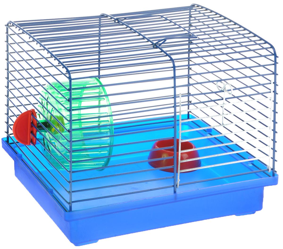 Клетка для джунгариков ЗооМарк, с колесом и миской, цвет: синий поддон, синяя решетка, 23 х 18 х 19 см511ССКлетка ЗооМарк, выполненная из пластика и металла, подходит для мелких грызунов. Изделие оборудовано колесом для подвижных игр и пластиковой миской. Клетка имеет яркий поддон, удобна в использовании и легко чистится. Сверху имеется ручка для переноски. Такая клетка станет личным пространством и уютным домиком для маленького грызуна. Комплектация: - клетка с поддоном; - миска; - колесо.