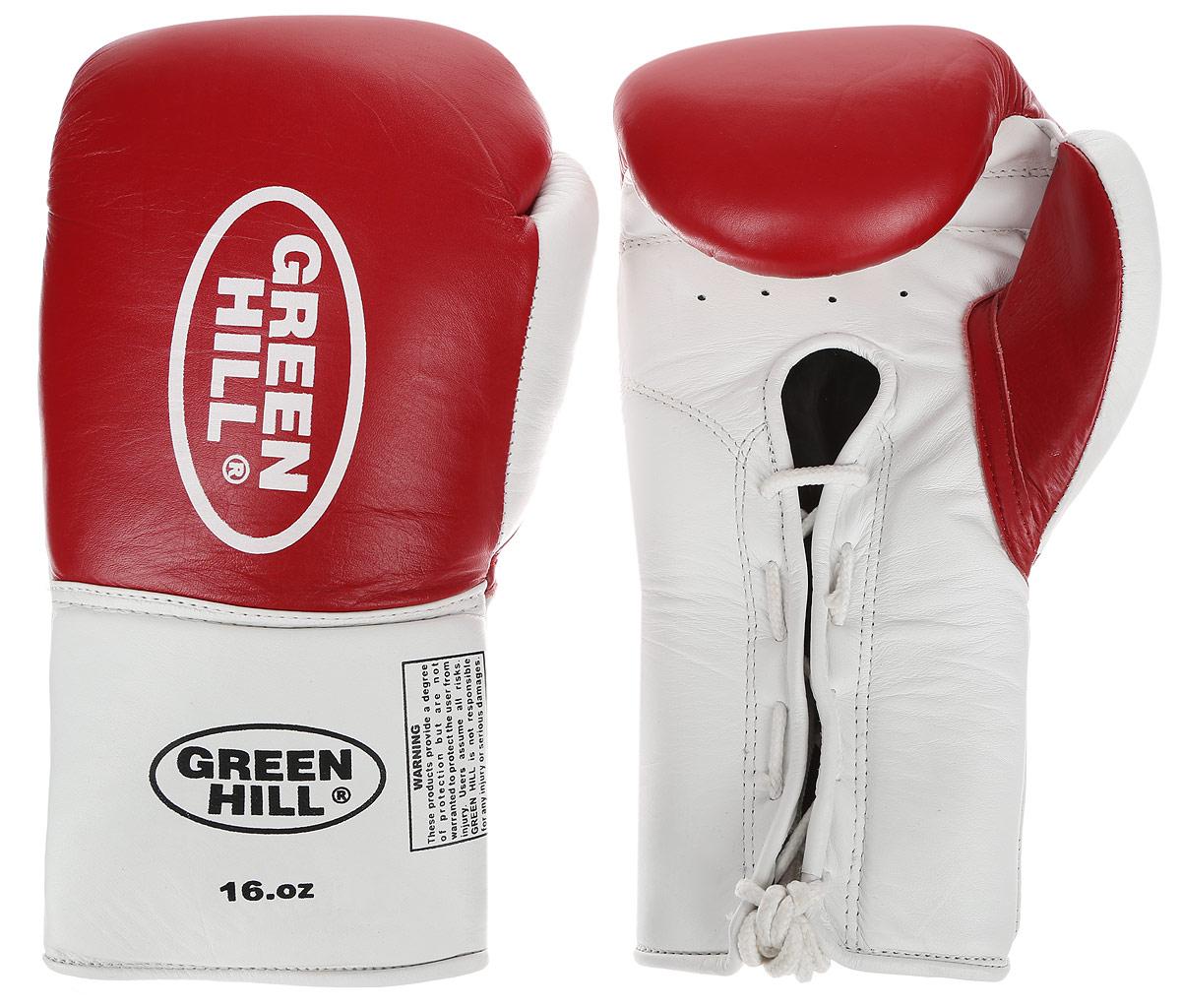 Перчатки боксерские Green Hill Proffi, цвет: красный, белый. Вес 16 унций. BGP-2014BGP-2014Боксерские перчатки Green Hill Proffi предназначены для использования профессионалами. Верх выполнен из натуральной кожи, наполнитель - из вспененного полимера. Отверстие в области ладони позволяет создать максимально комфортный терморежим во время занятий. Манжет на шнуровке способствует быстрому и удобному надеванию перчаток, плотно фиксирует перчатки на руке.
