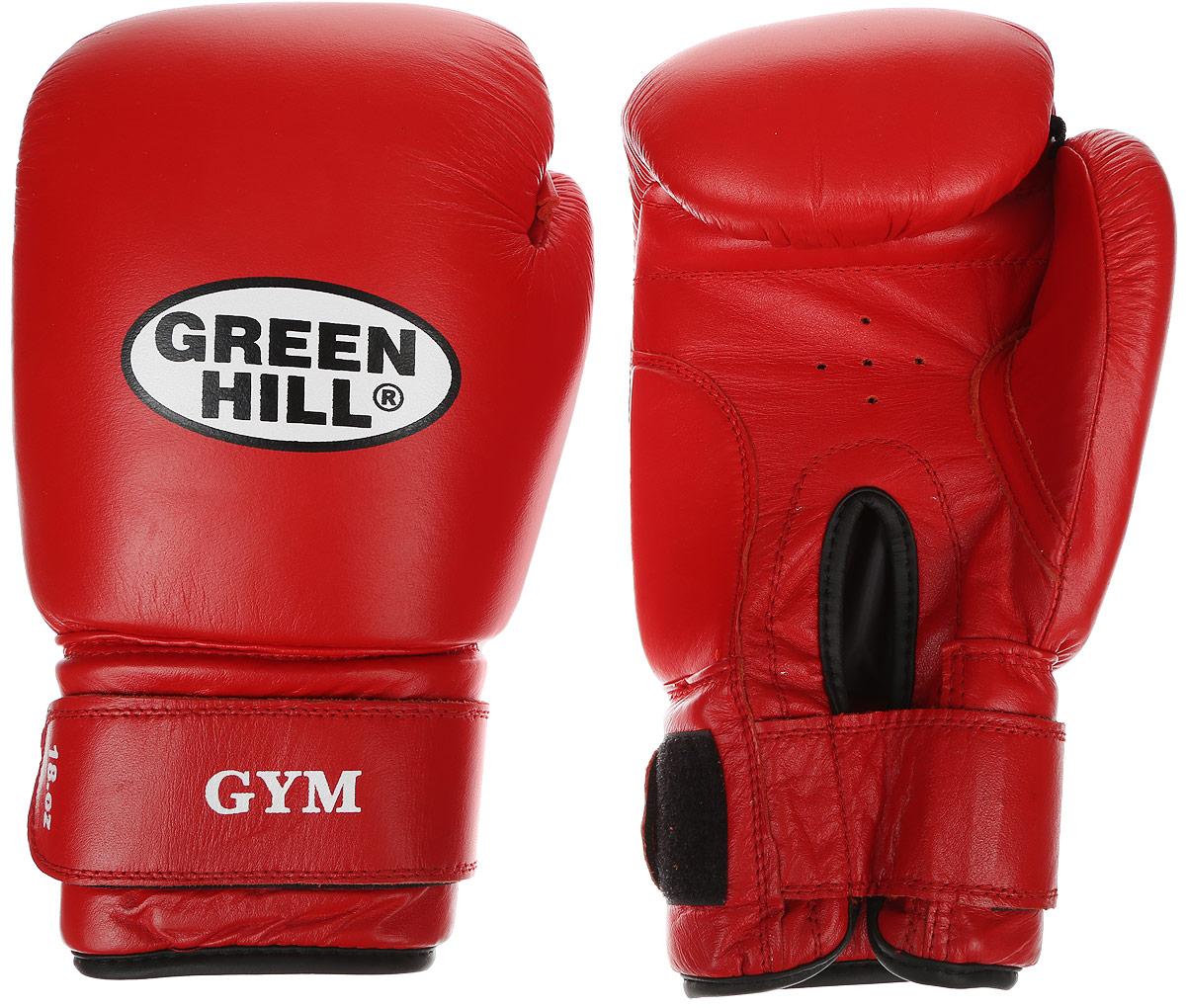 Перчатки боксерские Green Hill Gym, цвет: красный, белый. Вес 18 унцийBGG-2018Боксерские перчатки Green Hill Gym подходят для всех видов единоборств где применяют перчатки. Подойдет как для бокса, так и для кикбоксинга. Новички и профессионалы высоко ценят эту модель за универсальность. Верхняя часть перчатки выполнена из натуральной кожи, наполнитель - пенополиуретан. Перфорированная поверхность в области ладони позволяет создать максимально комфортный терморежим во время занятий. Закрепляется на руке при помощи липучки.