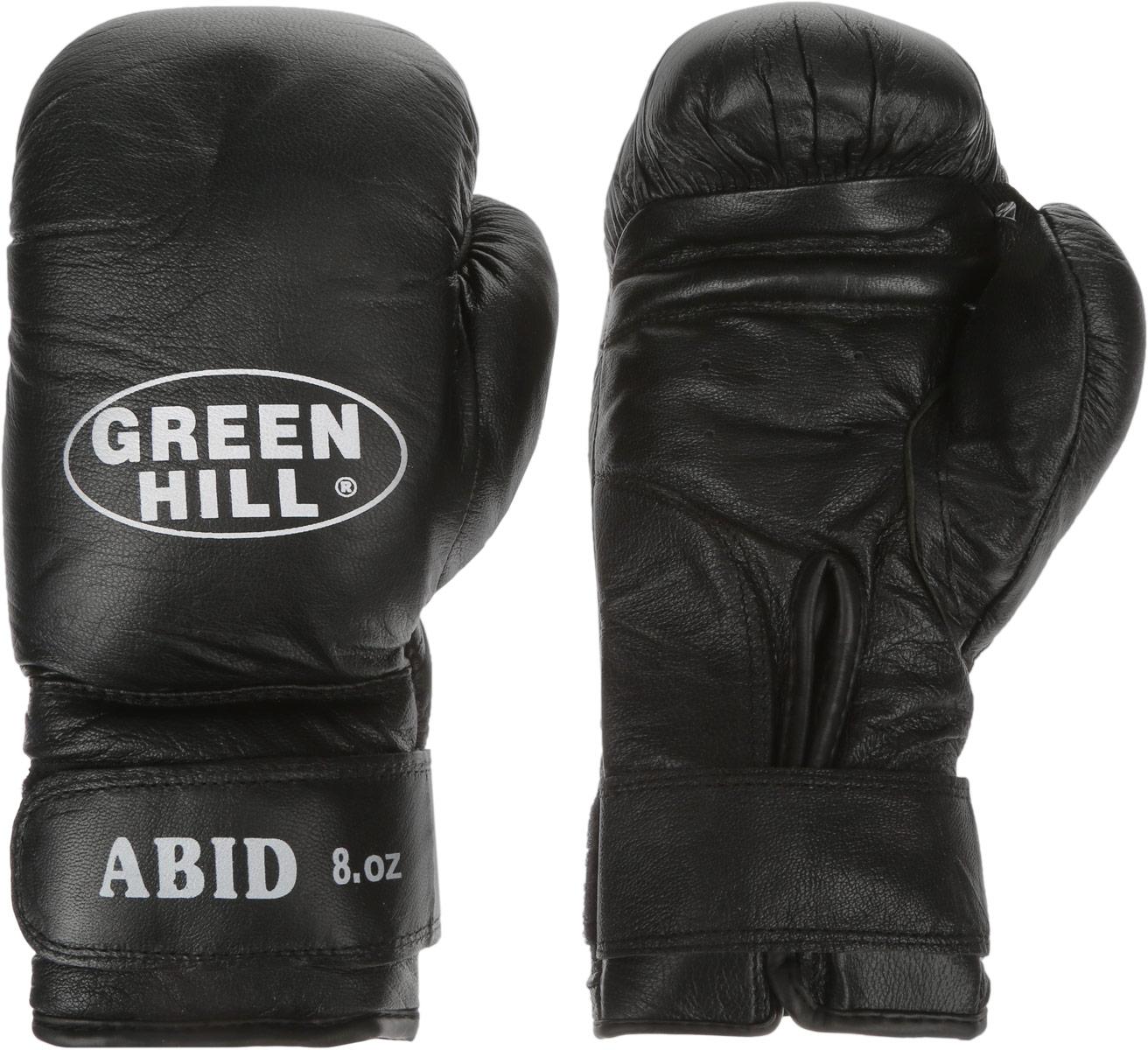 Перчатки боксерские Green Hill Abid, цвет: черный, белый. Вес 8 унцийBGA-2024Боксерские тренировочные перчатки Green Hill Abid выполнены из натуральной кожи. Они отлично подойдут для начинающих спортсменов. Мягкий наполнитель из очеса предотвращает любые травмы. Отверстия в районе ладони обеспечивают вентиляцию. Широкий ремень, охватывая запястье, полностью оборачивается вокруг манжеты, благодаря чему создается дополнительная защита лучезапястного сустава от травмирования. Застежка на липучке способствует быстрому и удобному одеванию перчаток, плотно фиксирует перчатки на руке.