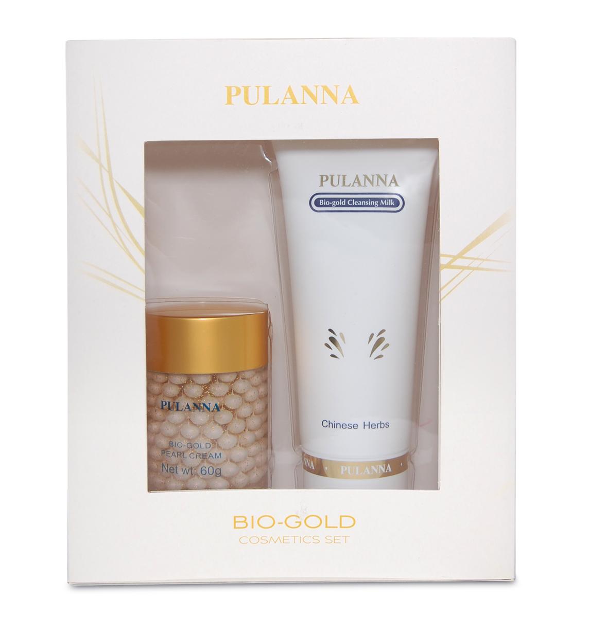 Pulanna Подарочный набор Bio-gold Cosmetics Set (2 предмета)59025960059241. Очищающее молочко прекрасно удаляет макияж, поверхностные загрязнения, излишки кожного сала, отмершие роговые чешуйки, не нарушая РН и гидро-липидную мантию кожи. Ускоряет регенерацию клеток. 2. Жемчужный крем активно омолаживает, придаёт коже сияющий и ровный тон. Крем нормализует кровоснабжение, стимулирует вывод токсинов из кожи, замедляет процессы старения, обеспечивает увлажнение на 24 часа, увеличивает продолжительность жизни клеток. Поддерживает упругость кожи, нормализует процессы клеточного метаболизма и правильной дифференцировки клеток, насыщает ее необходимыми минералами, аминокислотами, витаминами. Обладает лифтинговым действием. Уникальная рецептура этого крема позволяет поддержать молодость вашей кожи. Серия подходит для всех типов кожи с 40 лет, с 35 лет в качестве интенсивного восстановления курсами (28-30 дней).