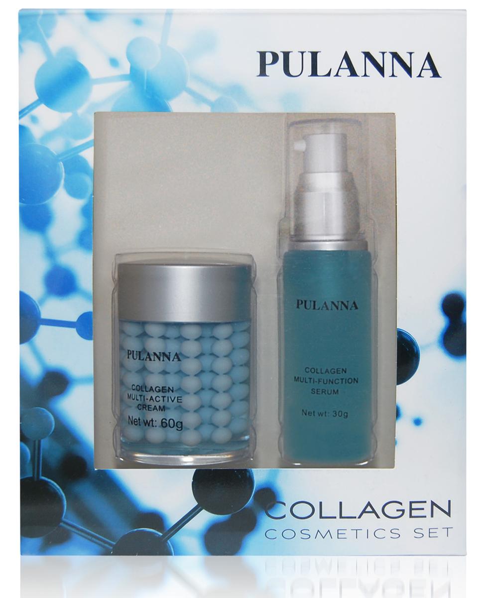 Pulanna Подарочный набор Collagen Cosmetics Set (2 предмета)59025960059311. Крем с коллагеном обеспечивает неинвазивное моделирование контуров лица, оказывает мощное восстанавливающее действие, препятствует преждевременному старению кожи. Благодаря сложному двухфазному составу обеспечивается максимальная эффективность воздействия активных компонентов. Улучшает процесс регенерации в эпидермисе и стабилизирует уровень влажности в клетках кожи. Оживляет и питает её, интенсивно восстанавливает эластичность, сокращая видимость морщин и рельефность кожи, обладает лифтинг-эффектом. Может использоваться утром и вечером. 2. Многофункциональная коллагеновая сыворотка - это уникальная комбинация белков шелка, натурального морского коллагена и эластина, укрепляющая структуру кожи и препятствующая ее возрастному истончению. Сыворотка делает кожу более упругой, наполненной и гладкой. Обеспечивает моделирование контуров лица, одновременно улучшая ее поверхностную структуру. Снимает раздражения, успокаивает кожу, нейтрализует воздействие аллергенов (D-panthenol...