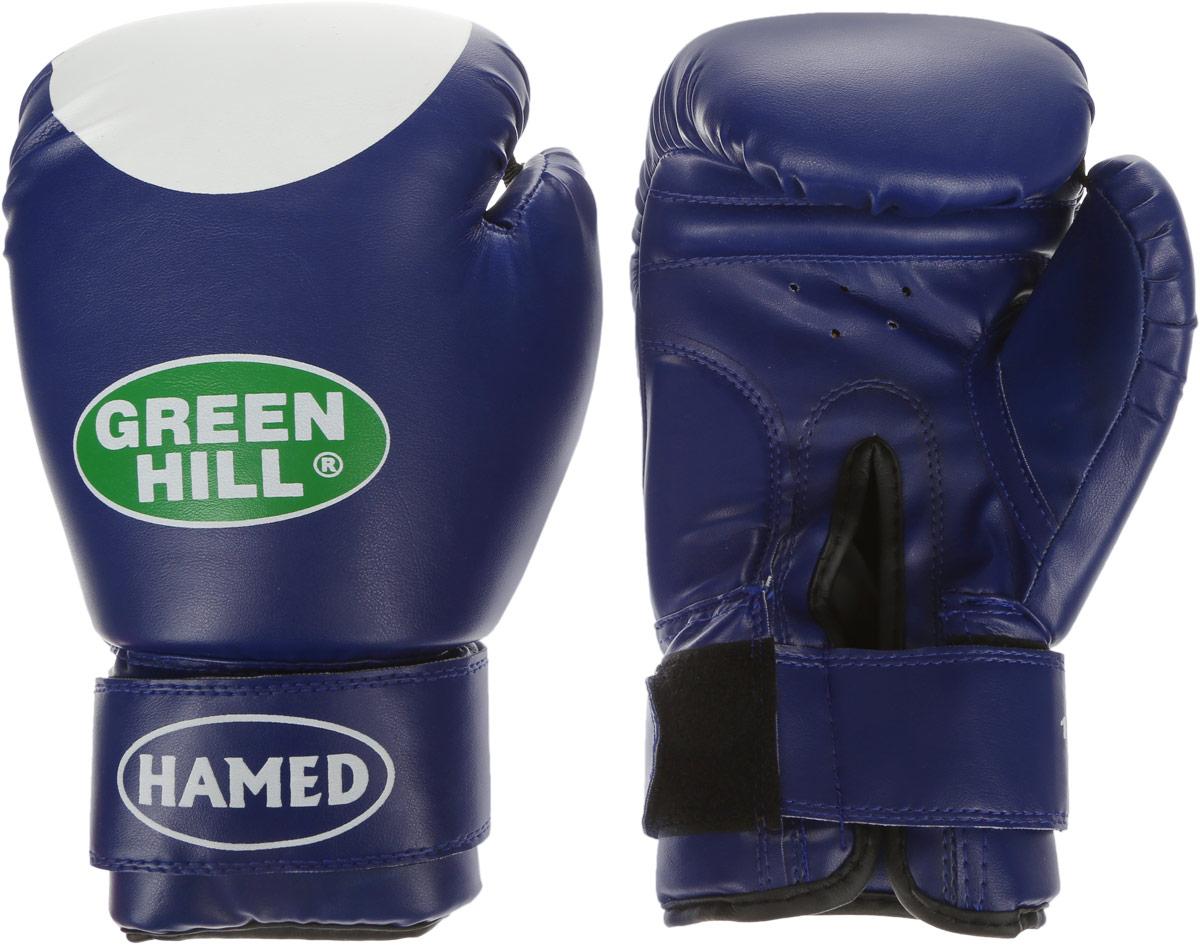 """Перчатки боксерские Green Hill """"Hamed"""", цвет: синий, белый. Вес 12 унций G-2036212"""