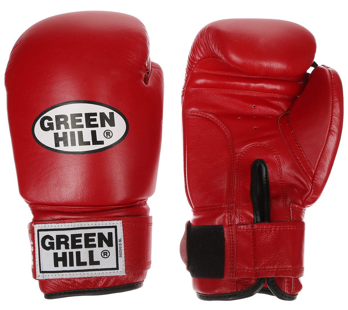 Перчатки боксерские Green Hill Super Star, цвет: красный, белый. Вес 12 унций. BGS-1213сBGS-1213сБоксерские перчатки Green Hill Super Star предназначены для использования профессионалами. Подойдут для спаррингов и соревнований. Верх выполнен из натуральной кожи, наполнитель - из вспененного полимера. Отверстие в области ладони позволяет создать максимально комфортный терморежим во время занятий. Манжет на липучке способствует быстрому и удобному надеванию перчаток, плотно фиксирует перчатки на руке.