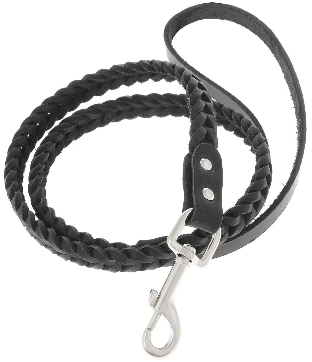 Поводок для собак Каскад Классика, плетеный, цвет: черный, ширина 1 см, длина 1,25 м02010021чПоводок для собак Каскад Классика изготовлен из высококачественной искусственный кожи в виде объемного плетения и снабжен металлическим карабином. Изделие отличается не только исключительной надежностью и удобством, но и привлекательным современным дизайном. Поводок - необходимый аксессуар для собаки. Ведь в опасных ситуациях именно он способен спасти жизнь вашему любимому питомцу. Иногда нужно ограничивать свободу своего четвероногого друга, чтобы защитить его или себя от неприятностей на прогулке. Длина поводка: 1,25 м. Ширина поводка: 1 см.